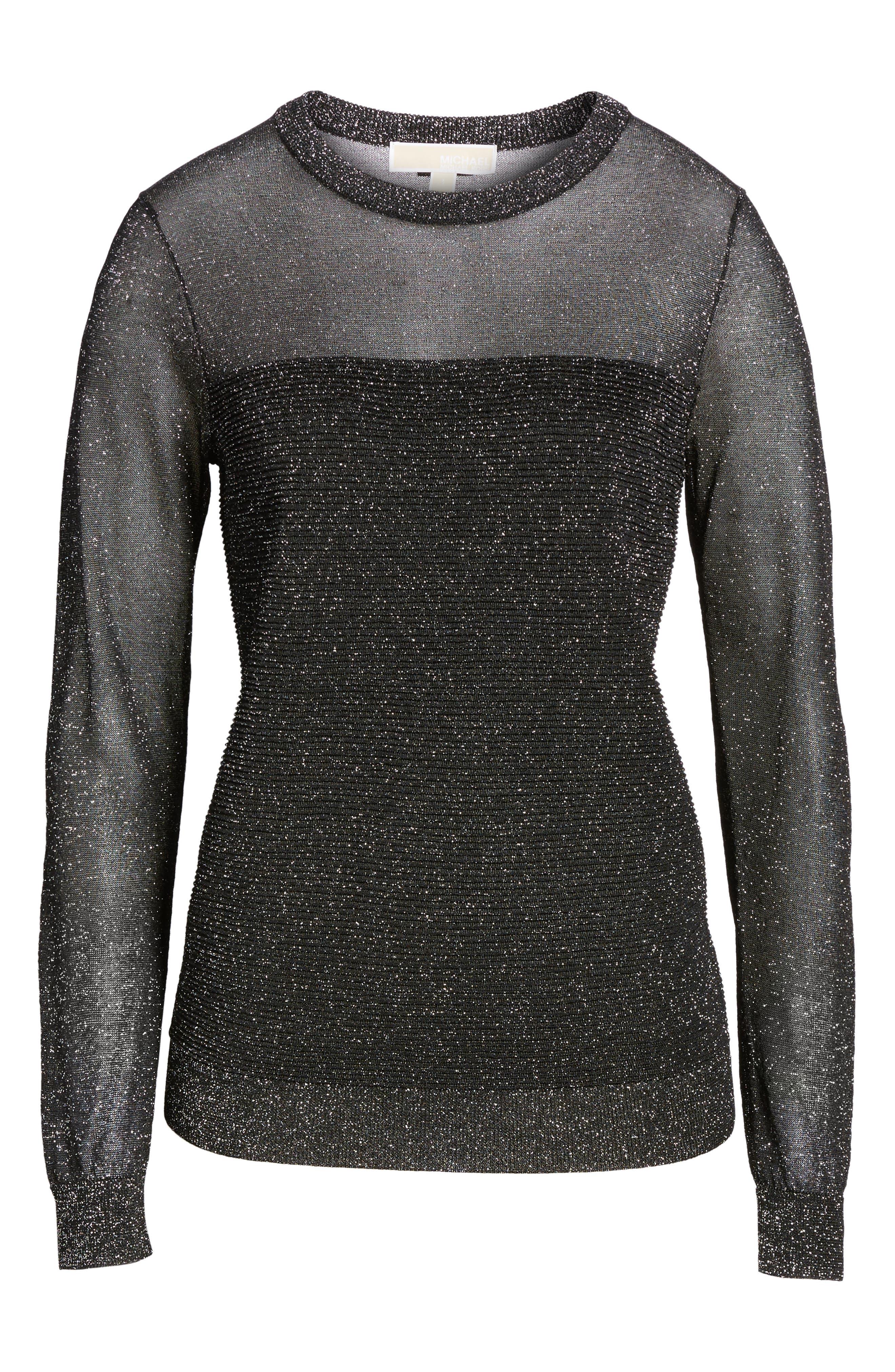 Sheer Metallic Overlay Sweater,                             Alternate thumbnail 6, color,                             001
