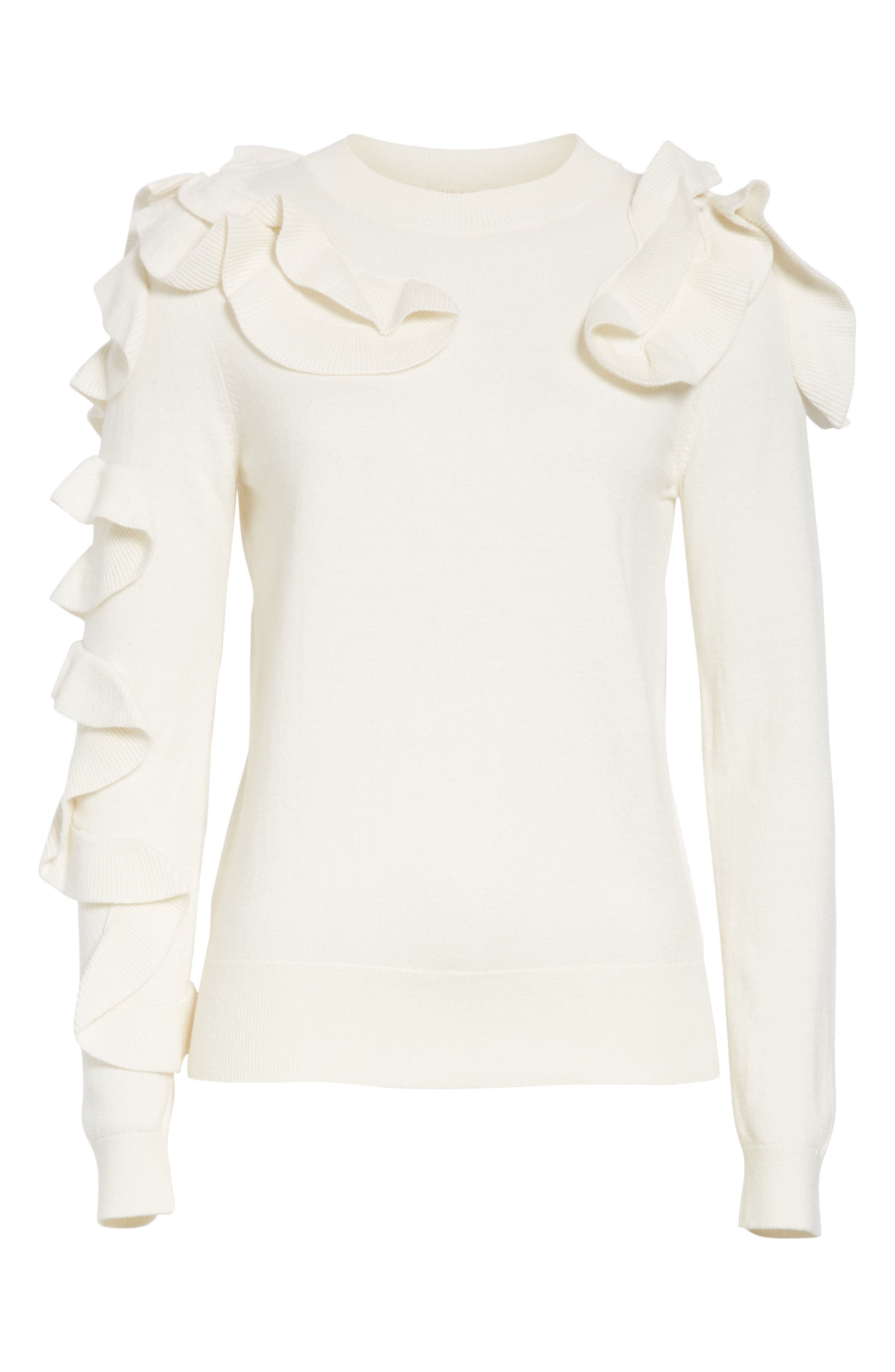 Pallege Frill Sleeve Wool Blend Sweater,                             Alternate thumbnail 6, color,                             905