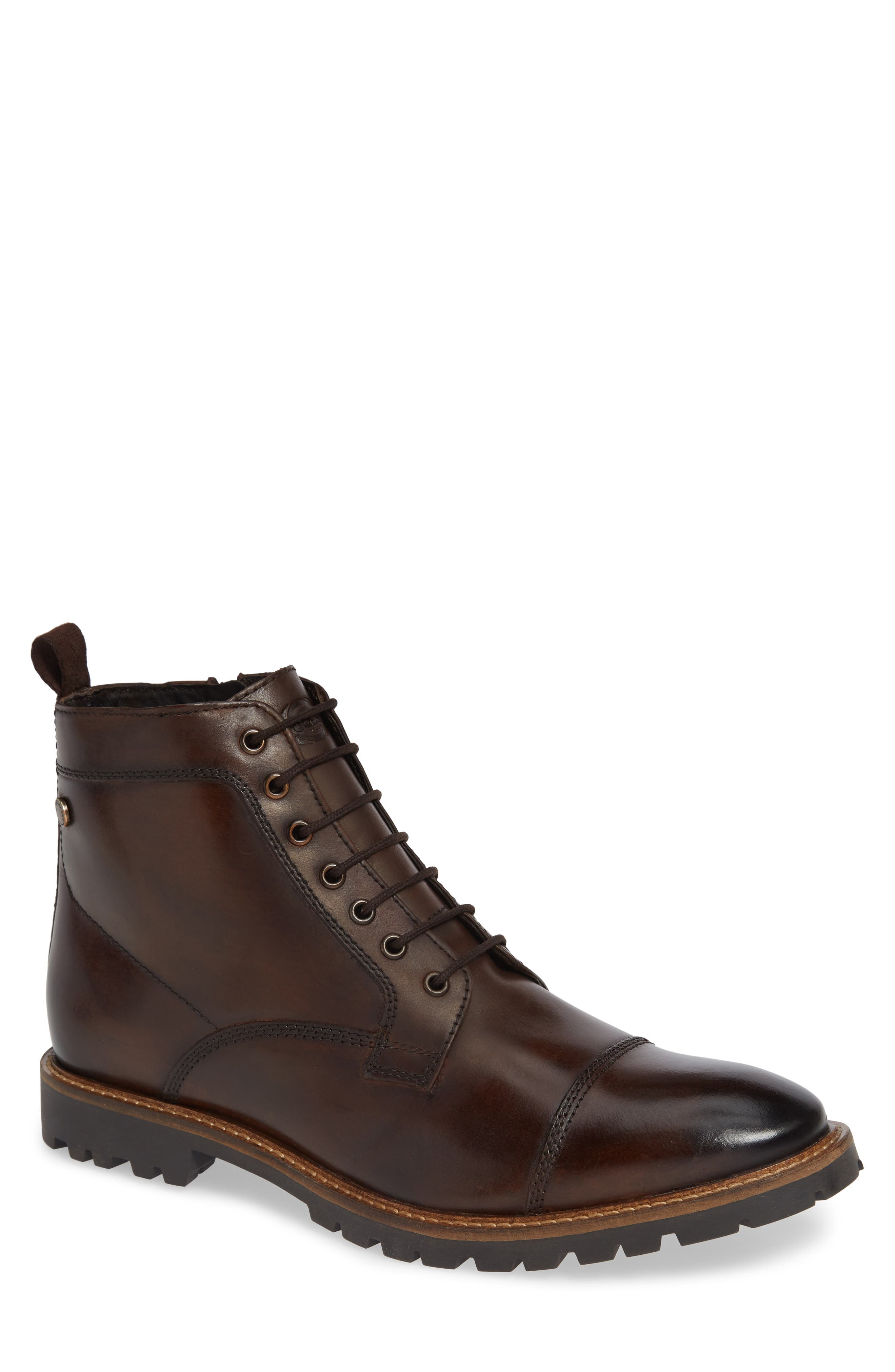 Lugged Cap Toe Boot,                         Main,                         color, BROWN