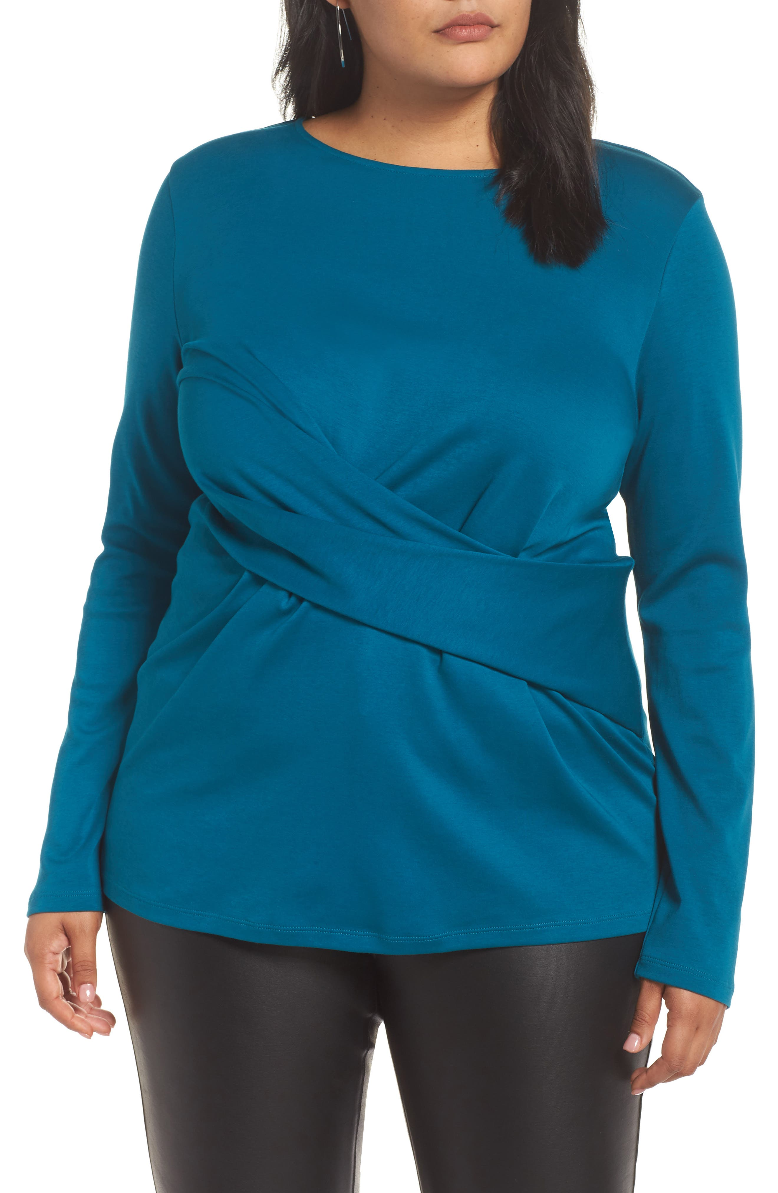 Drape Front Ponte Top,                             Main thumbnail 1, color,                             TEAL GLOSS