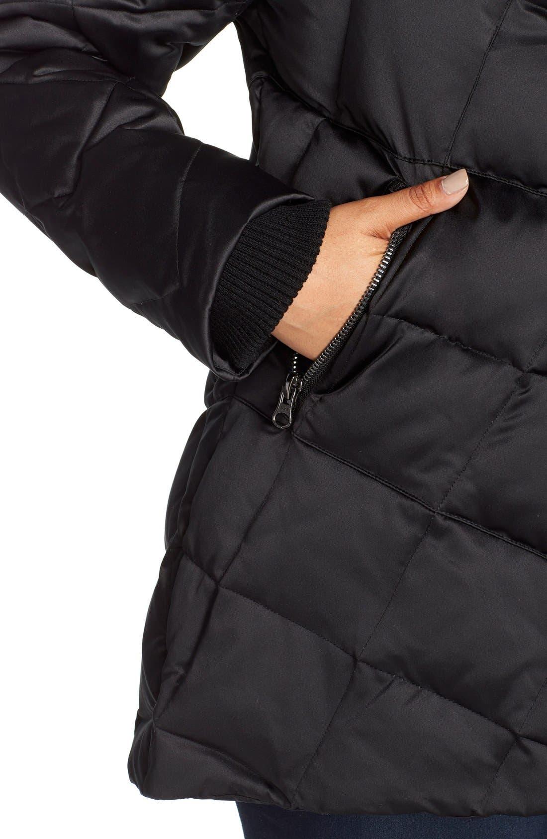 KRISTEN BLAKE,                             Hooded Diamond Quilted A-Line Down Coat,                             Alternate thumbnail 6, color,                             BLACK