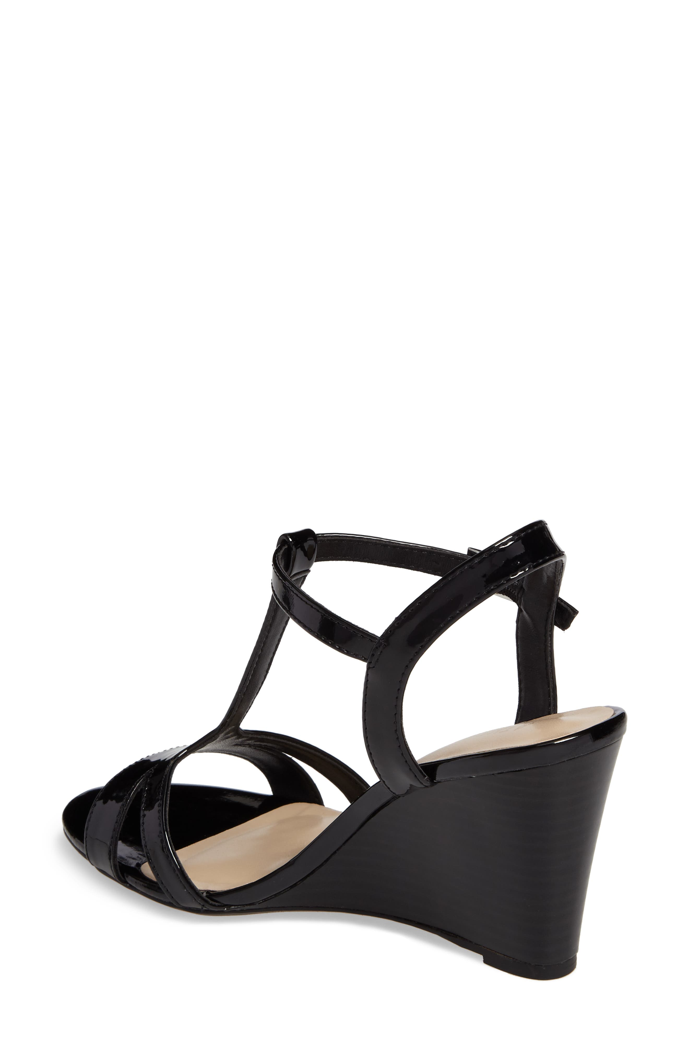 Andres Wedge T-Strap Sandal,                             Alternate thumbnail 2, color,                             002