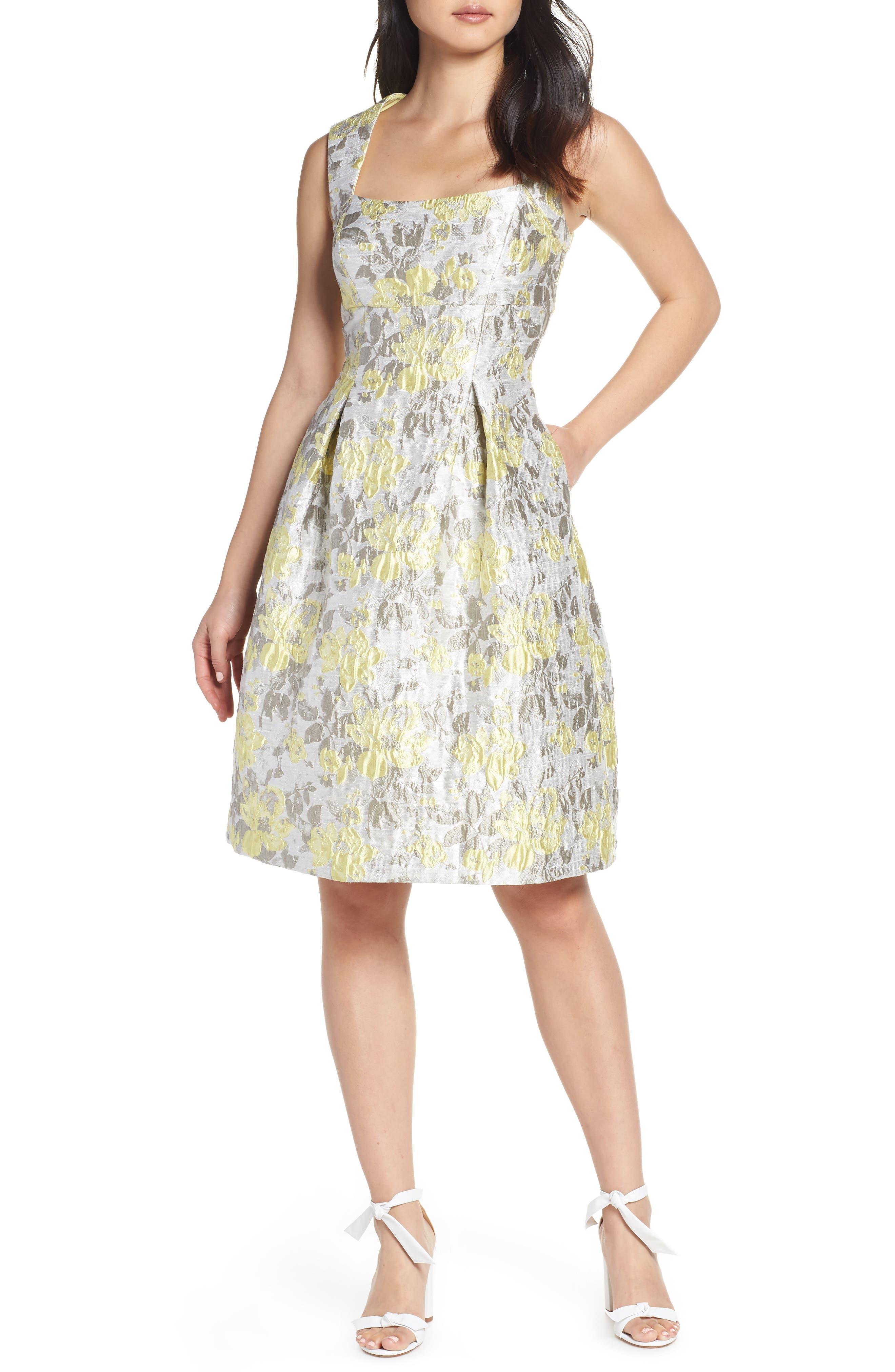 Eliza J Floral Jacquard Fit & Flare Dress, Metallic