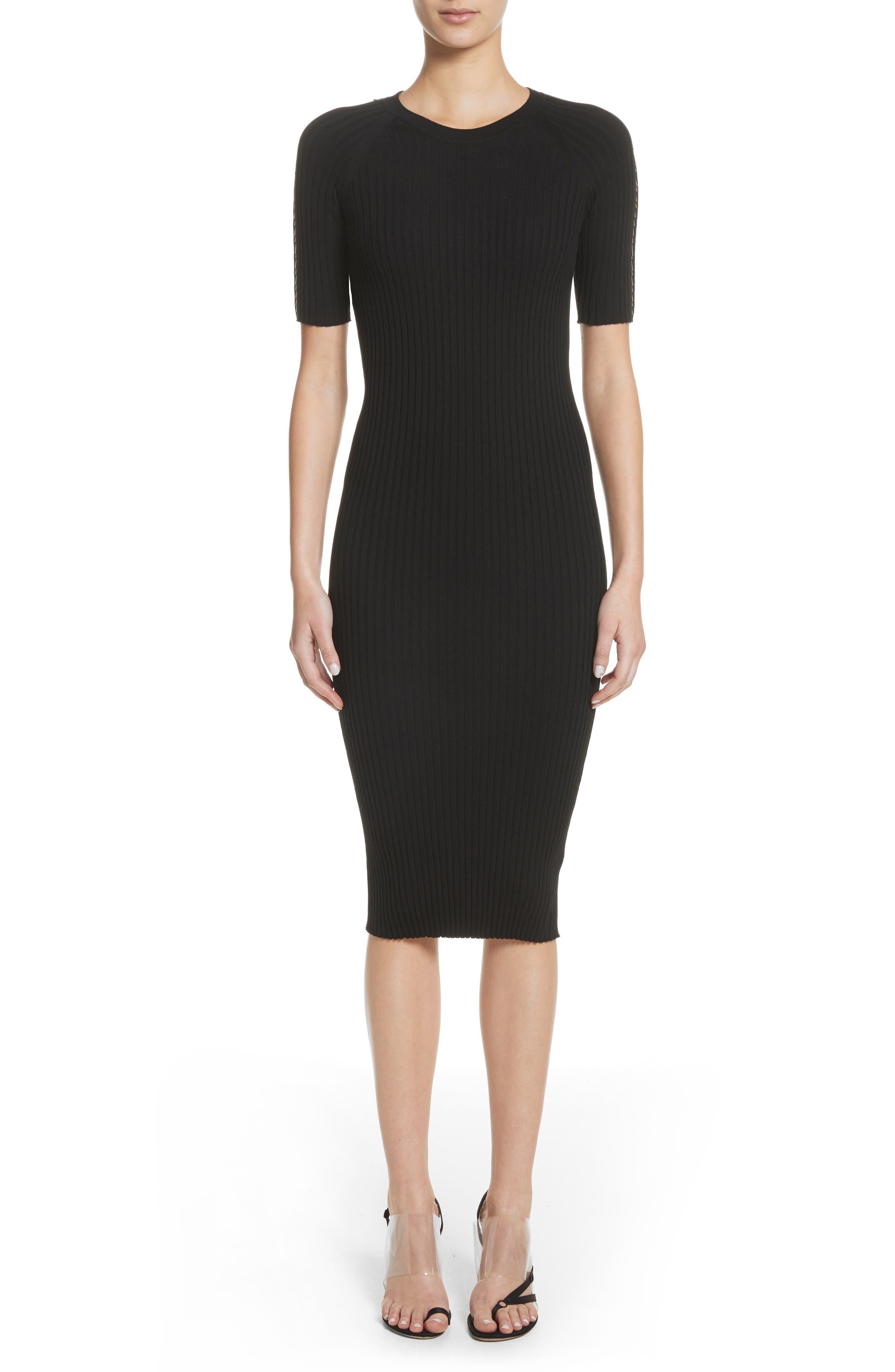 Pin Pierce Ribbed Body-Con Dress,                             Main thumbnail 1, color,