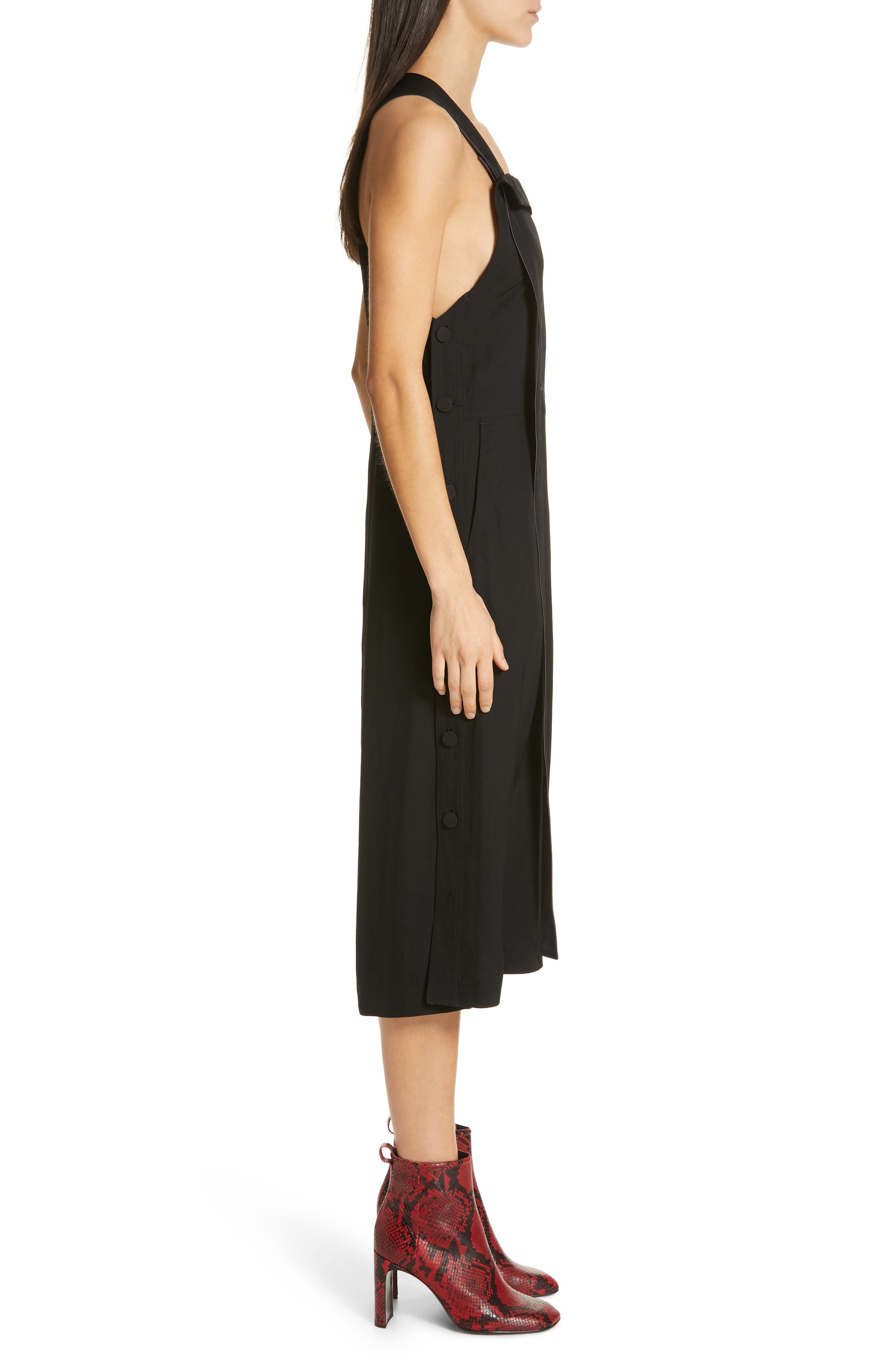 Adrian Pinafore Dress,                             Alternate thumbnail 3, color,                             BLACK