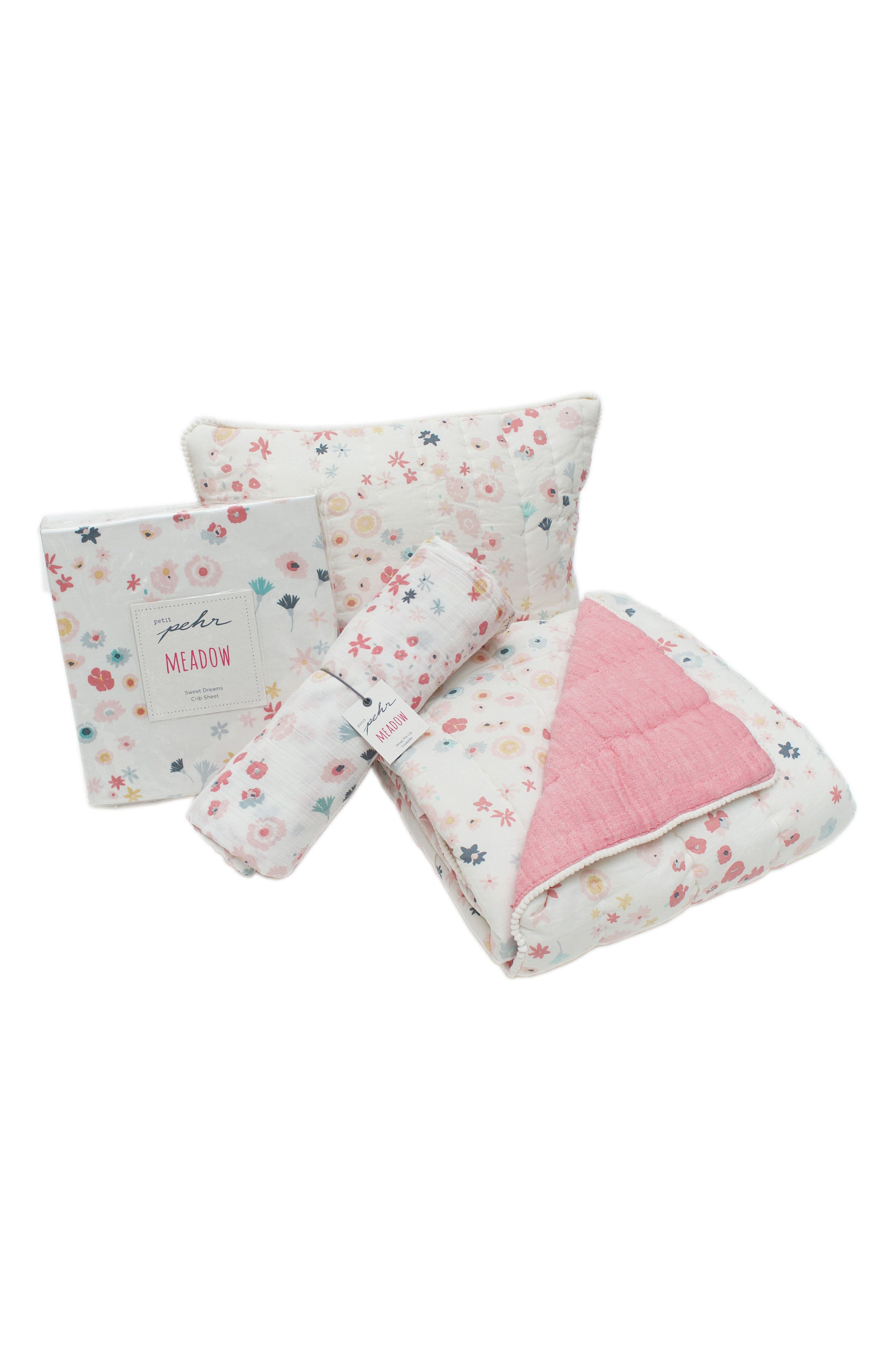 Showers Crib Sheet, Swaddle, Blanket & Pillow Set,                         Main,                         color, PINK