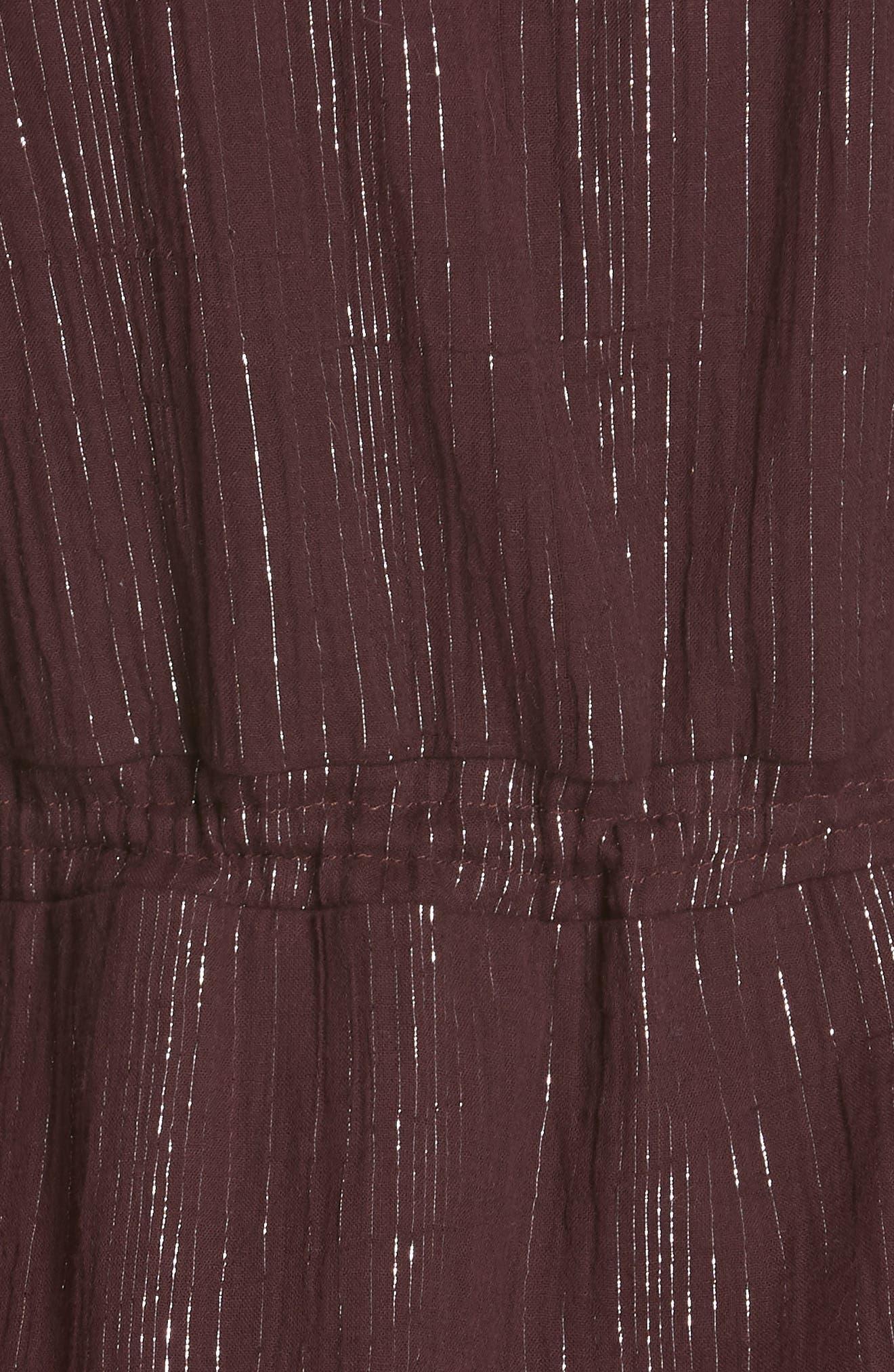 Rashida Embroidered Midi Dress,                             Alternate thumbnail 6, color,                             MULBERRY