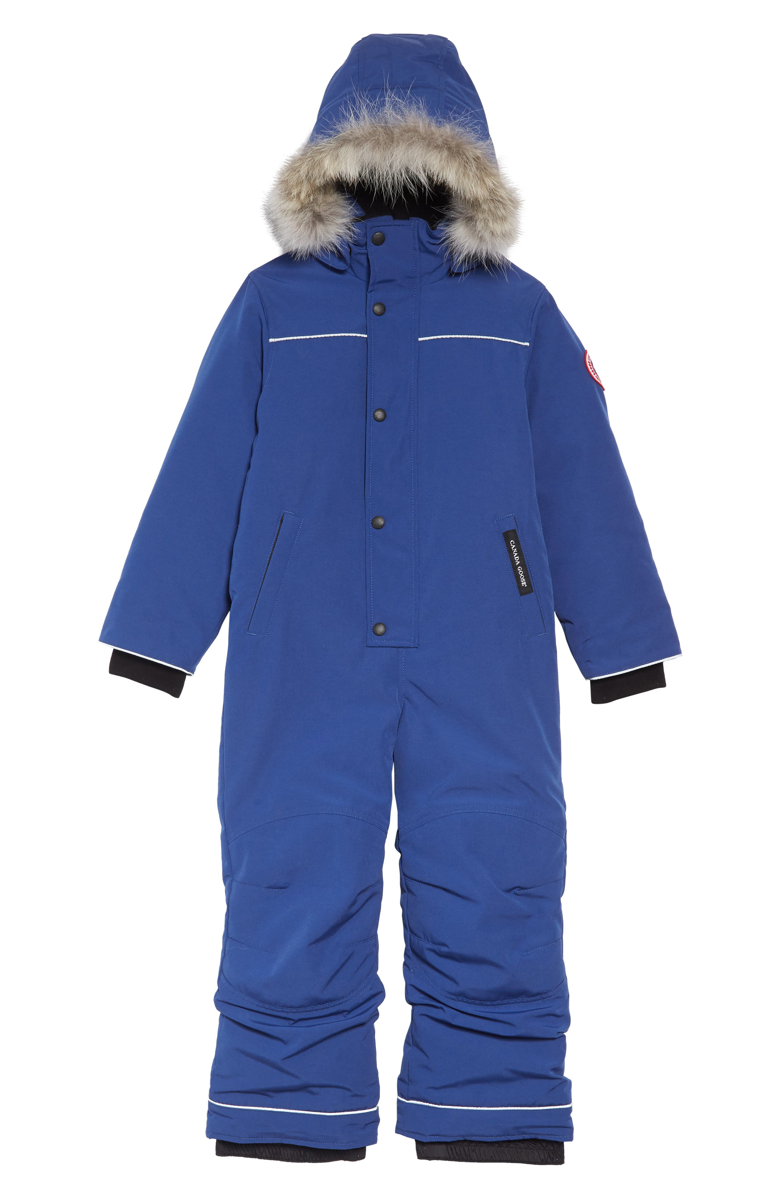 Baby Grizzly Snowsuit with Genuine Coyote Fur Trim,                             Main thumbnail 1, color,                             PACIFIC BLUE
