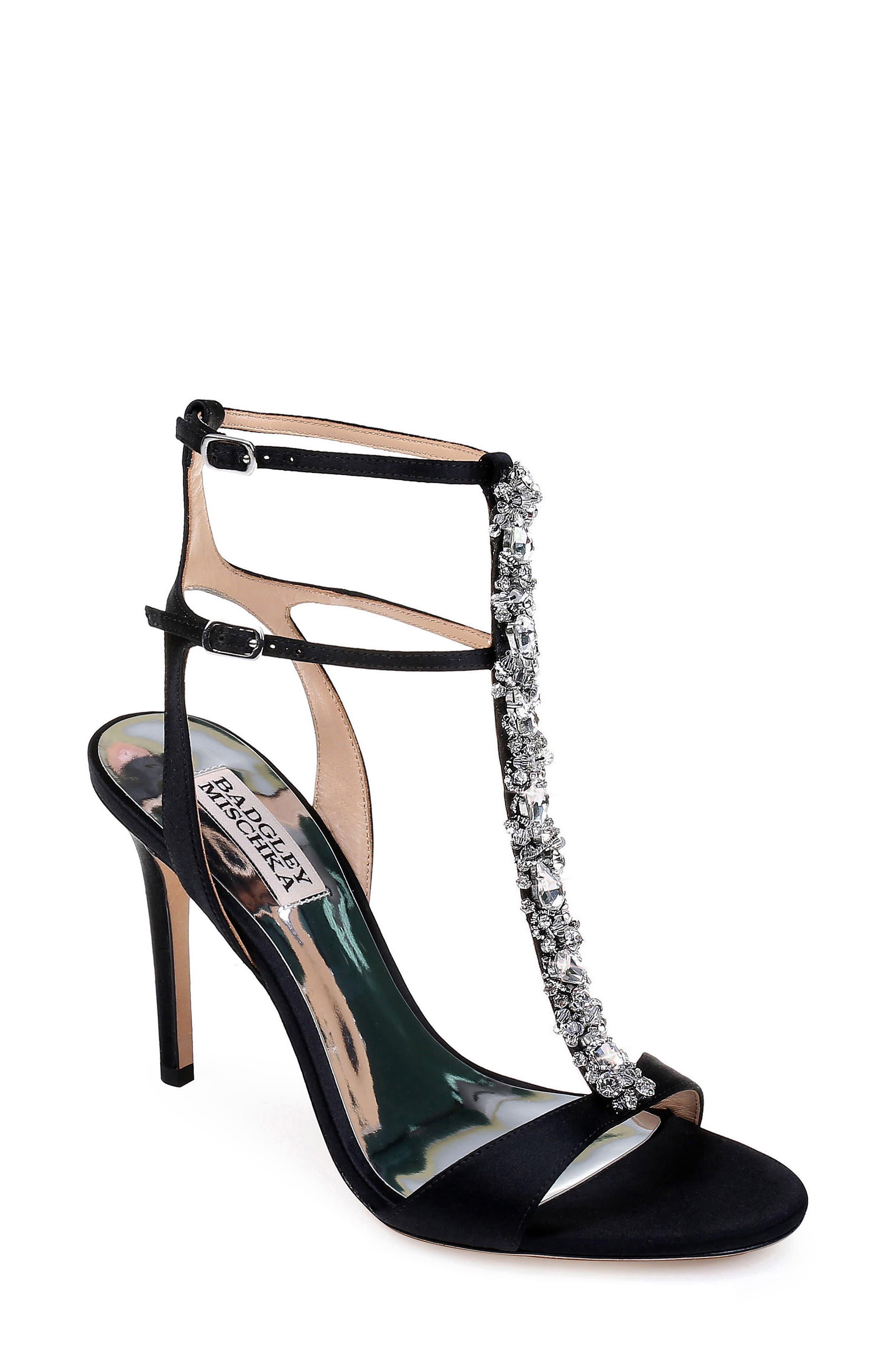 Hollow T-Strap Embellished Sandal,                             Main thumbnail 1, color,                             BLACK SATIN