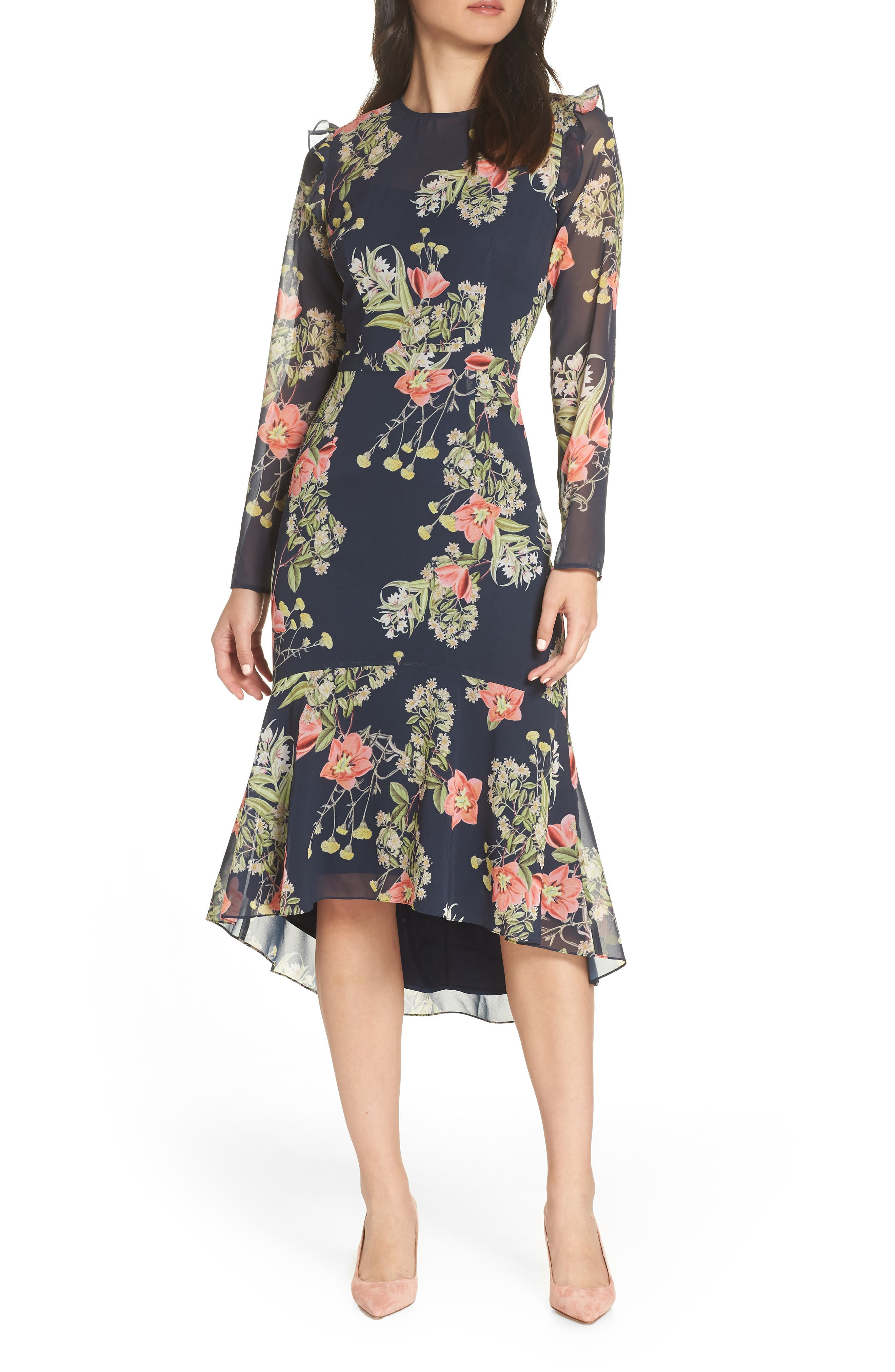 Chelsea28 Floral Ruffle Dress, Blue