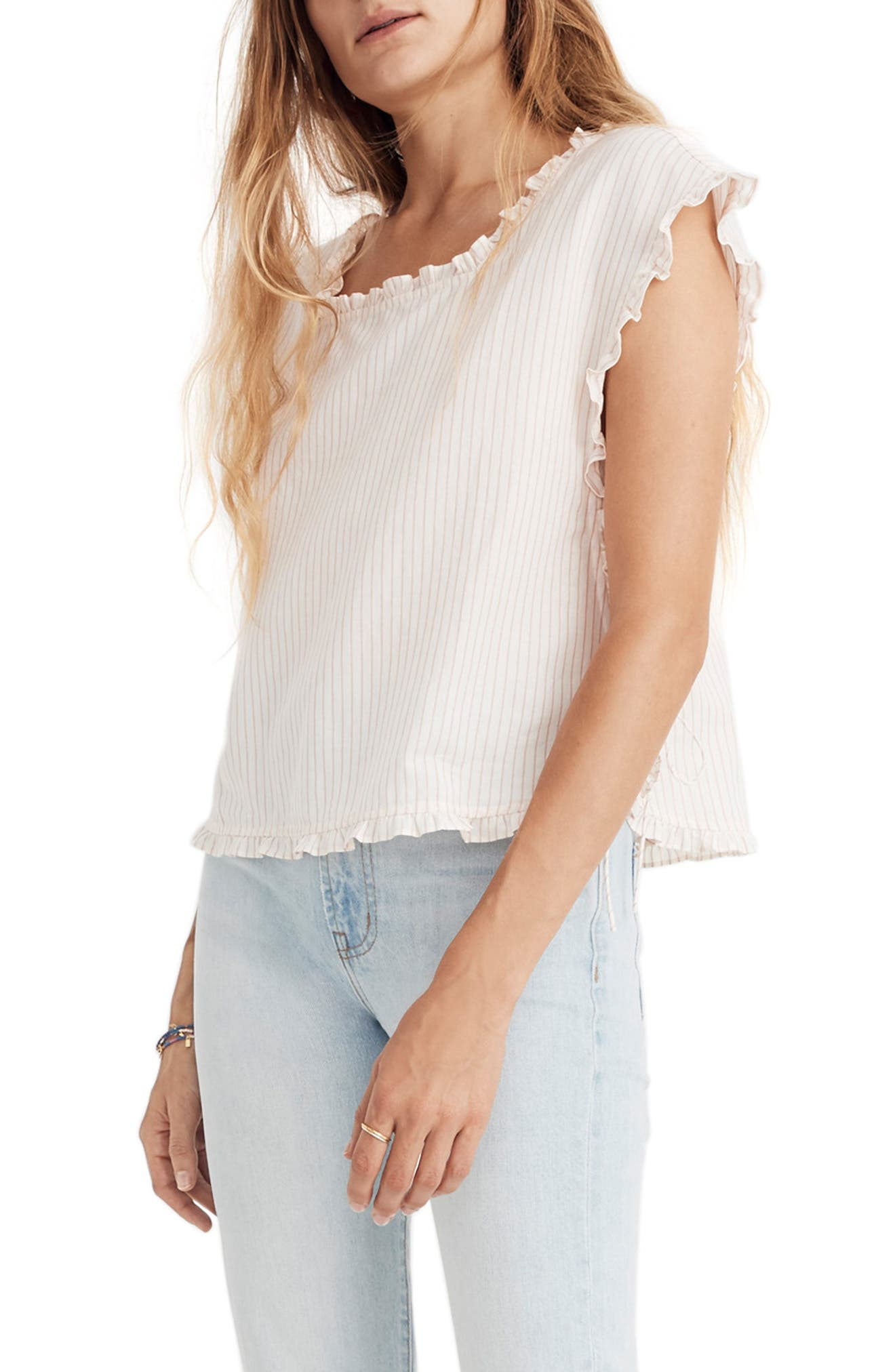 MADEWELL Stripe Ruffle Side Tie Top, Main, color, 650