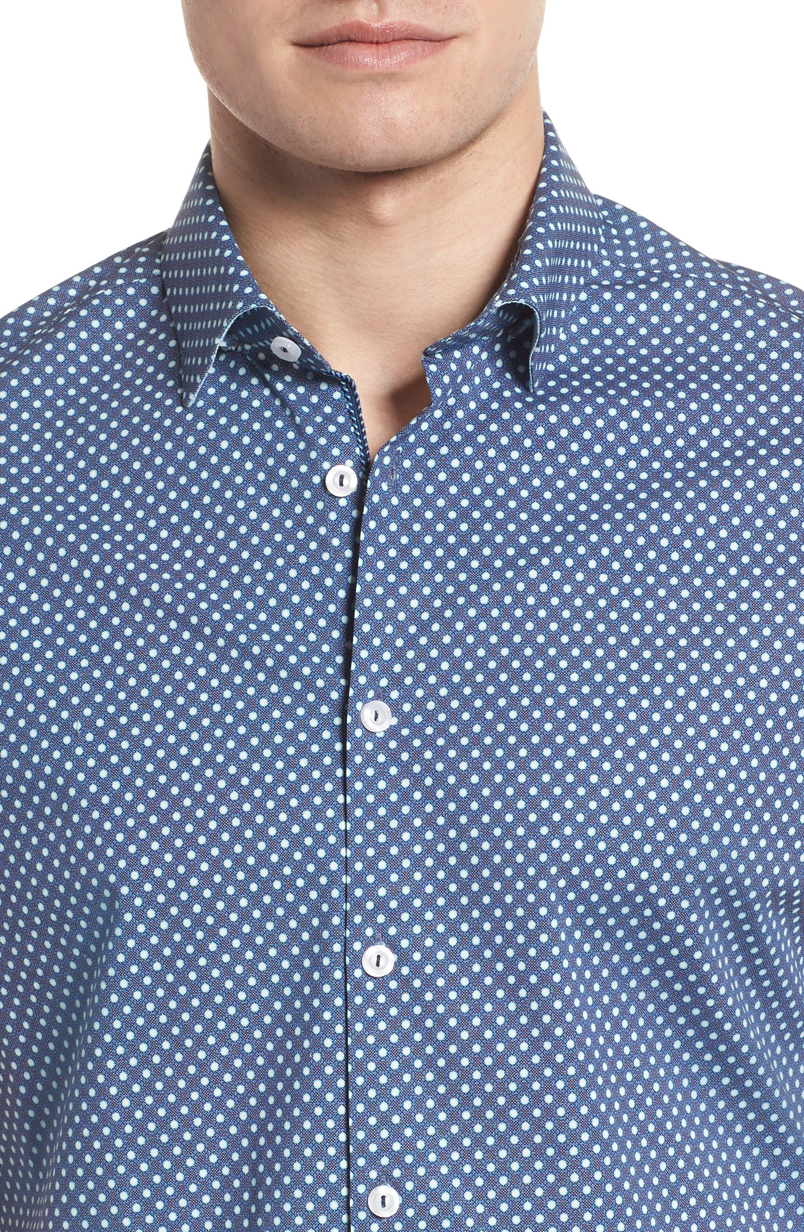Woven Sport Shirt,                             Alternate thumbnail 4, color,                             NAVY