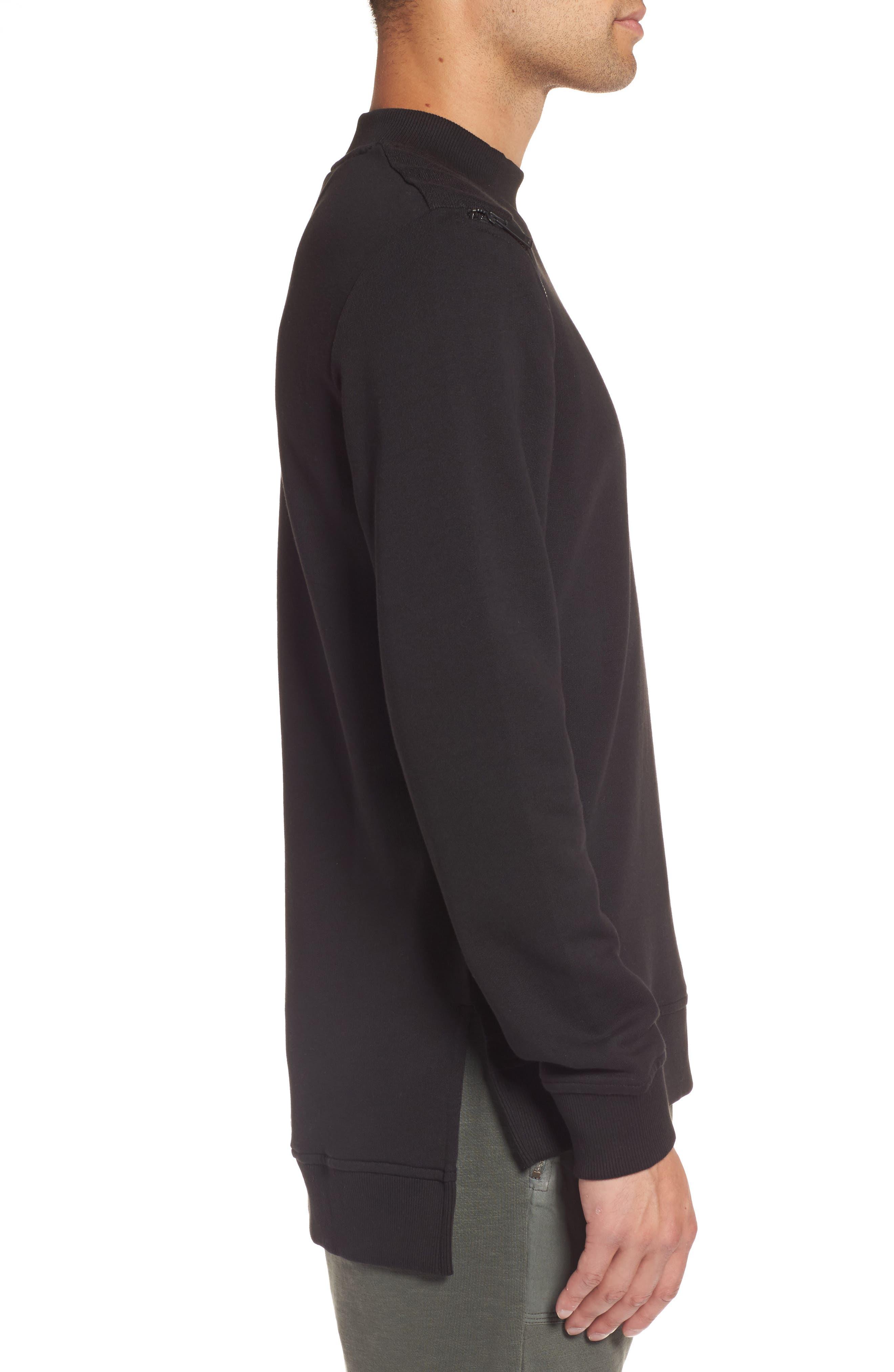 Zip Shoulder Sweatshirt,                             Alternate thumbnail 3, color,                             010