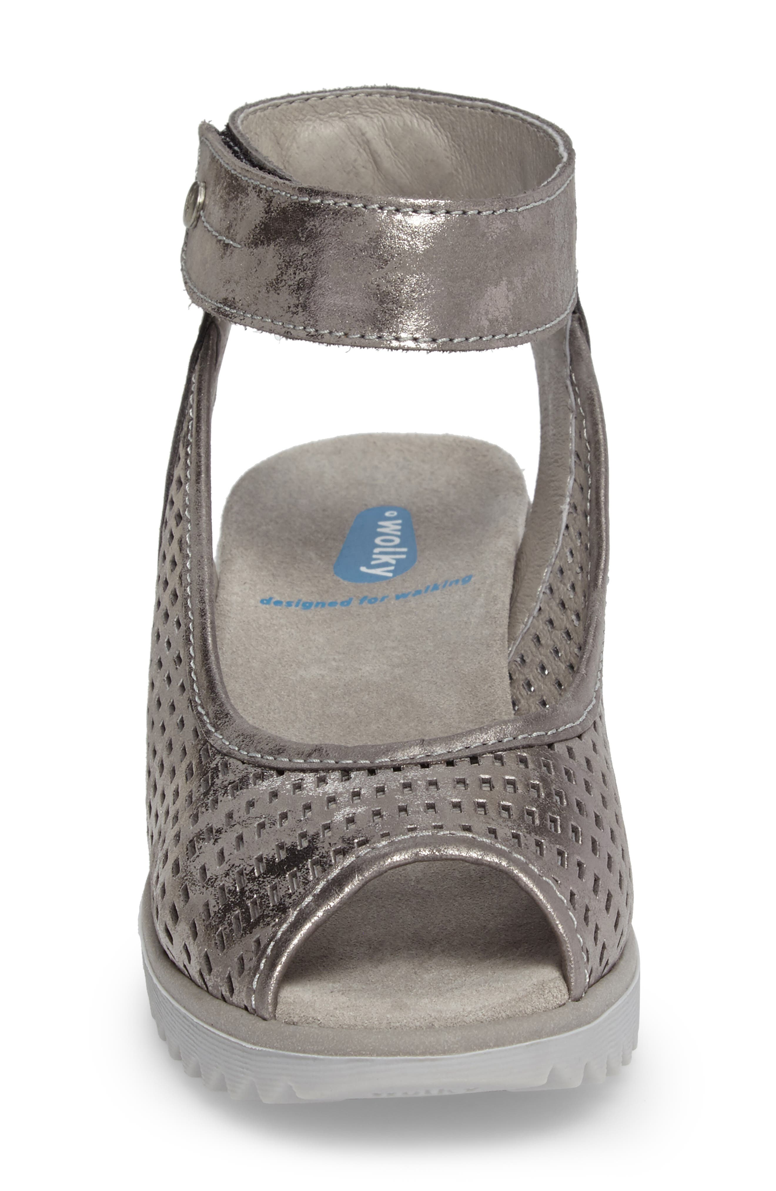 Frosty Ankle Strap Wedge Sandal,                             Alternate thumbnail 8, color,