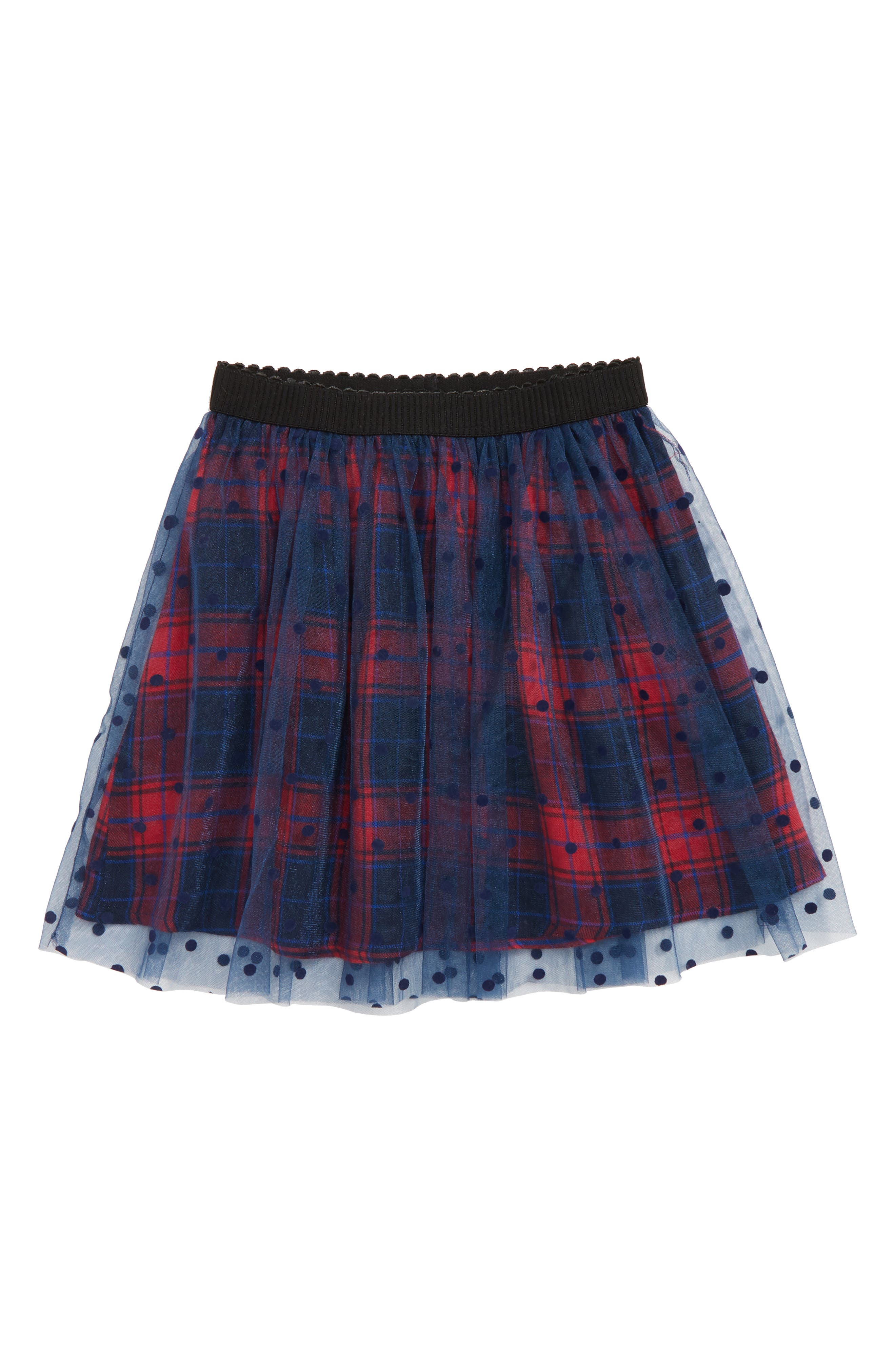 Polka Dot Plaid Tutu Skirt,                             Main thumbnail 1, color,                             418