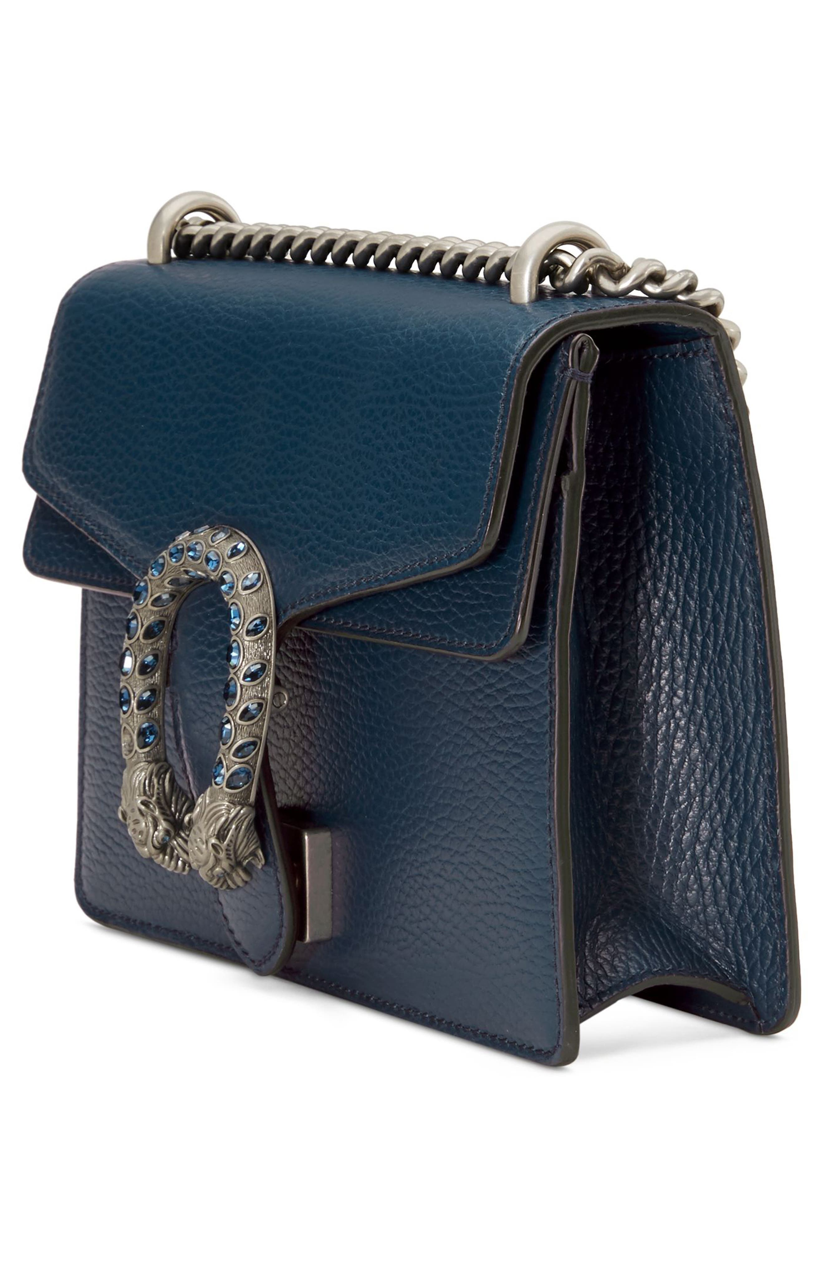 Mini Dionysus Leather Shoulder Bag,                             Alternate thumbnail 4, color,                             BLU AGATA/ MONTANA