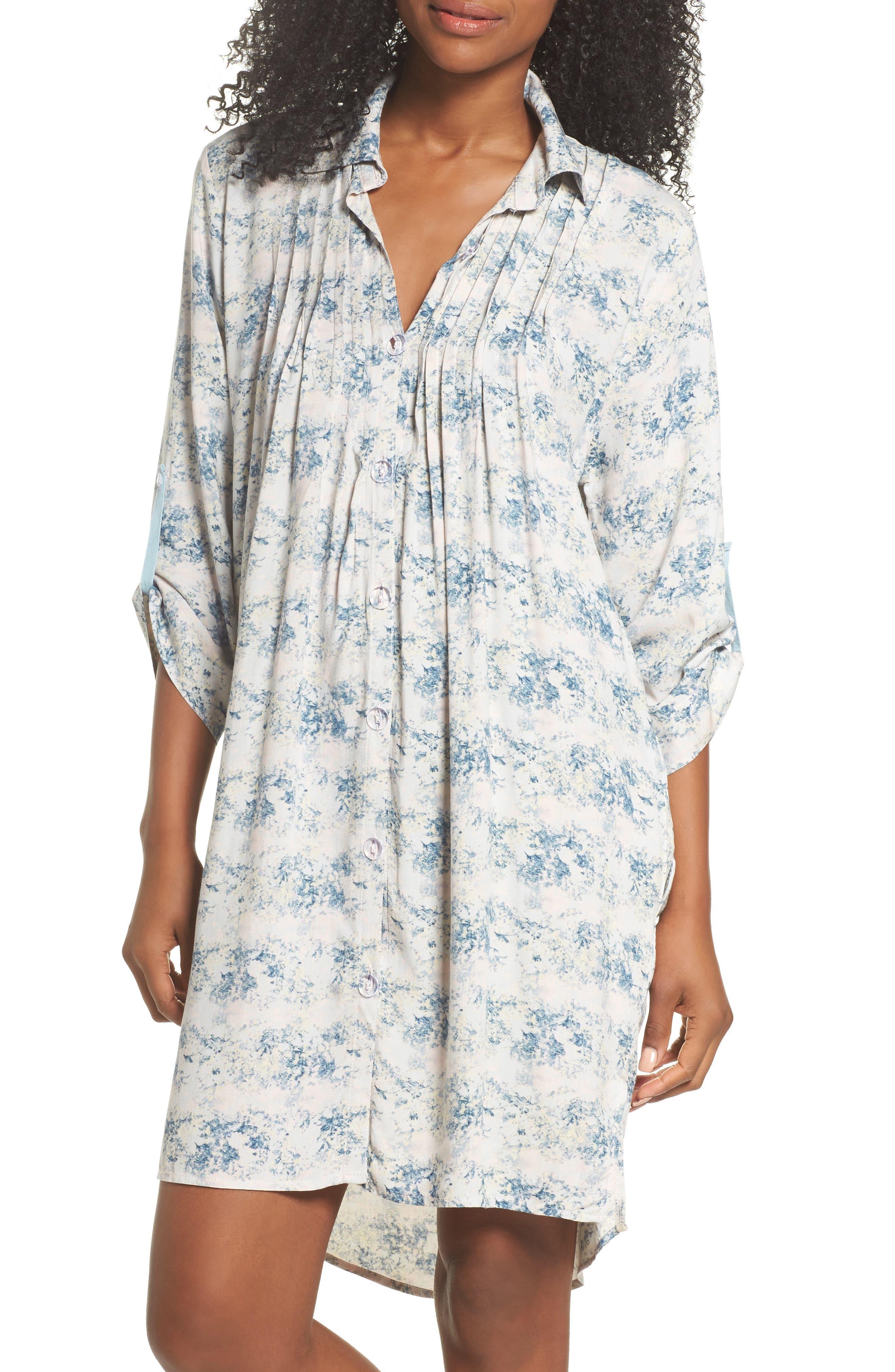 Floral Print Sleep Shirt,                             Main thumbnail 1, color,                             403