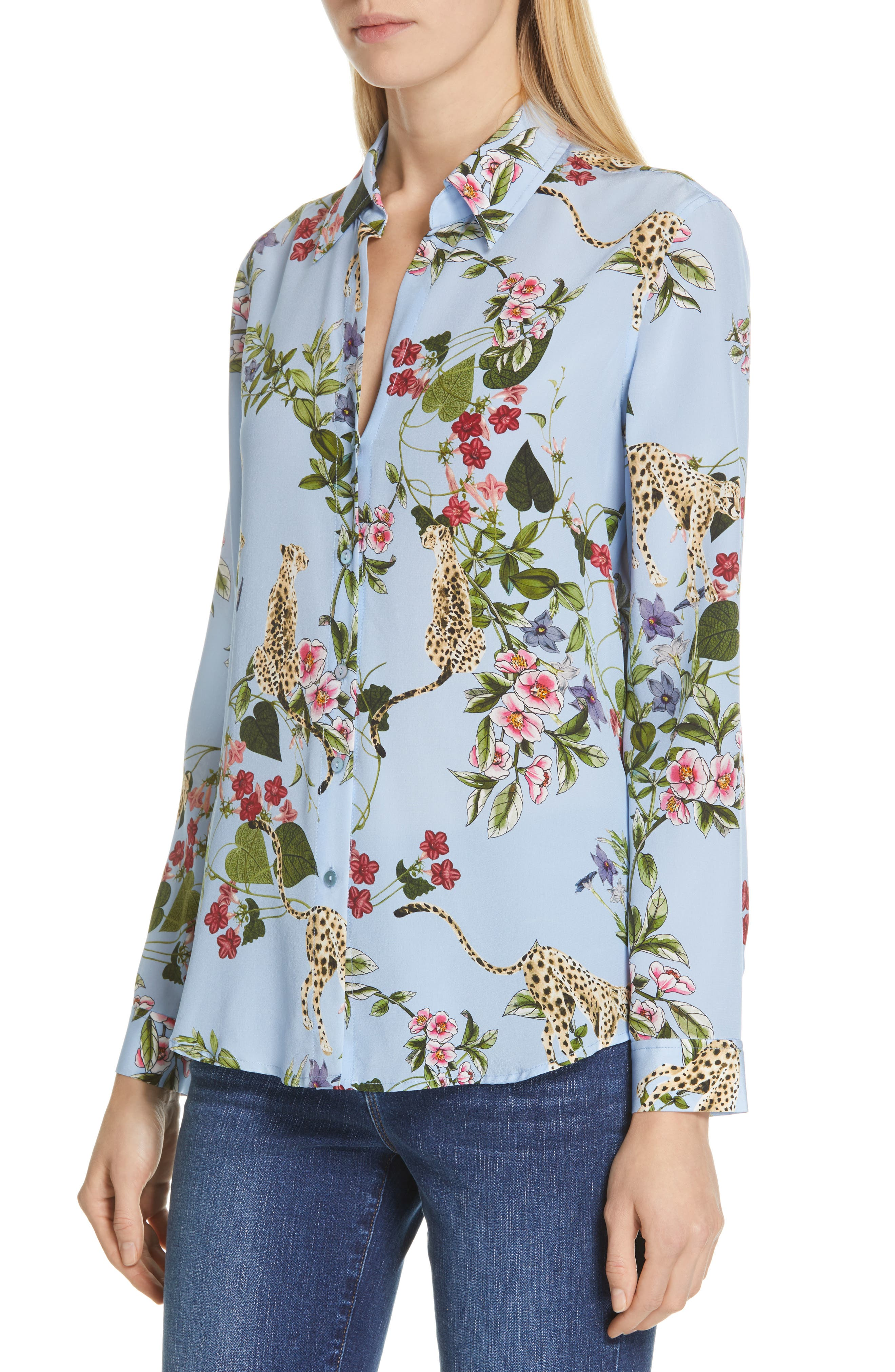 Nina Cheetah & Floral Print Silk Blouse,                             Alternate thumbnail 4, color,                             SKY BLUE MULTI