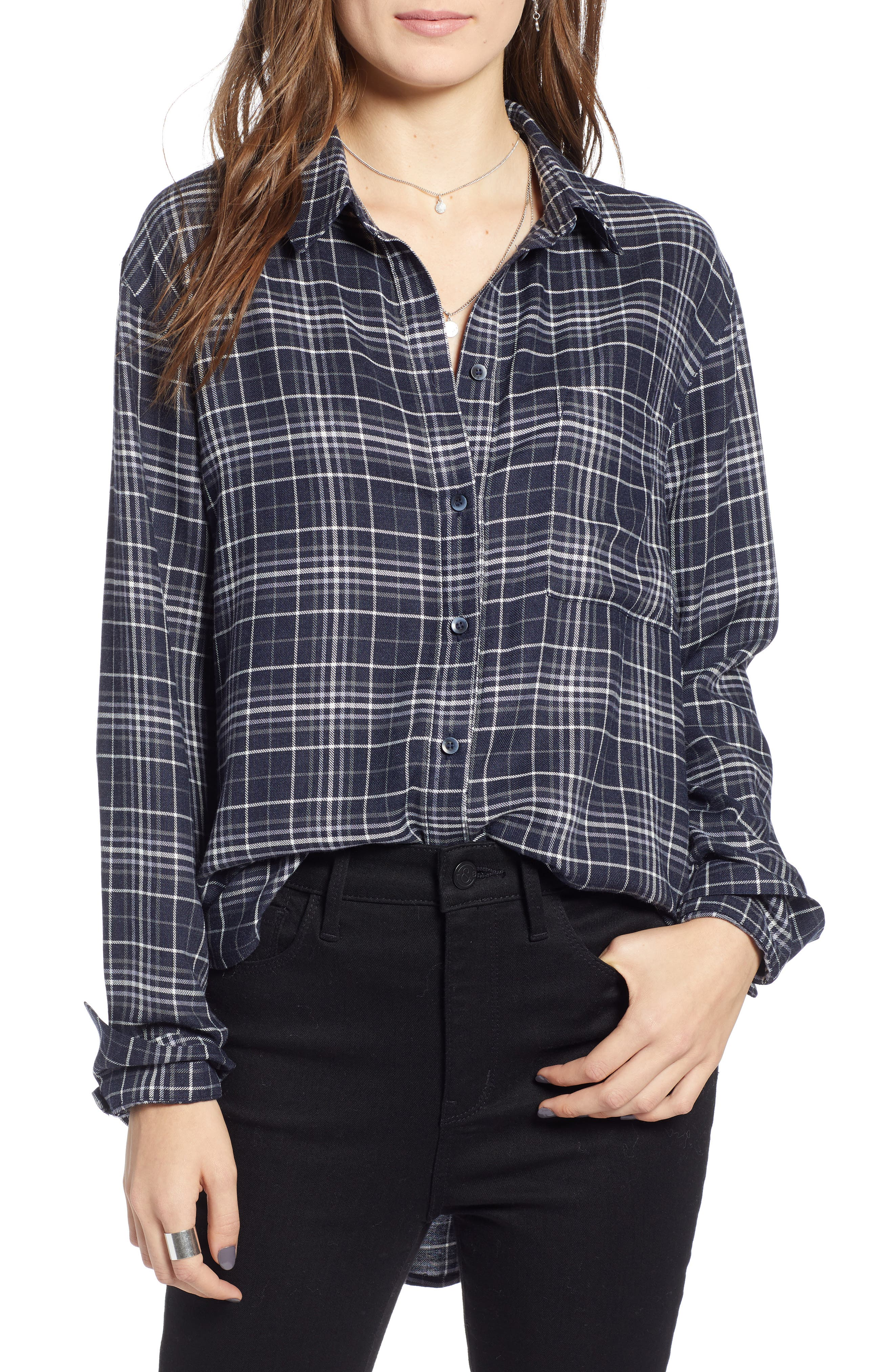 Plaid Boyfriend Shirt,                         Main,                         color, NAVY NIGHT DOUBLE WINDOW PANE