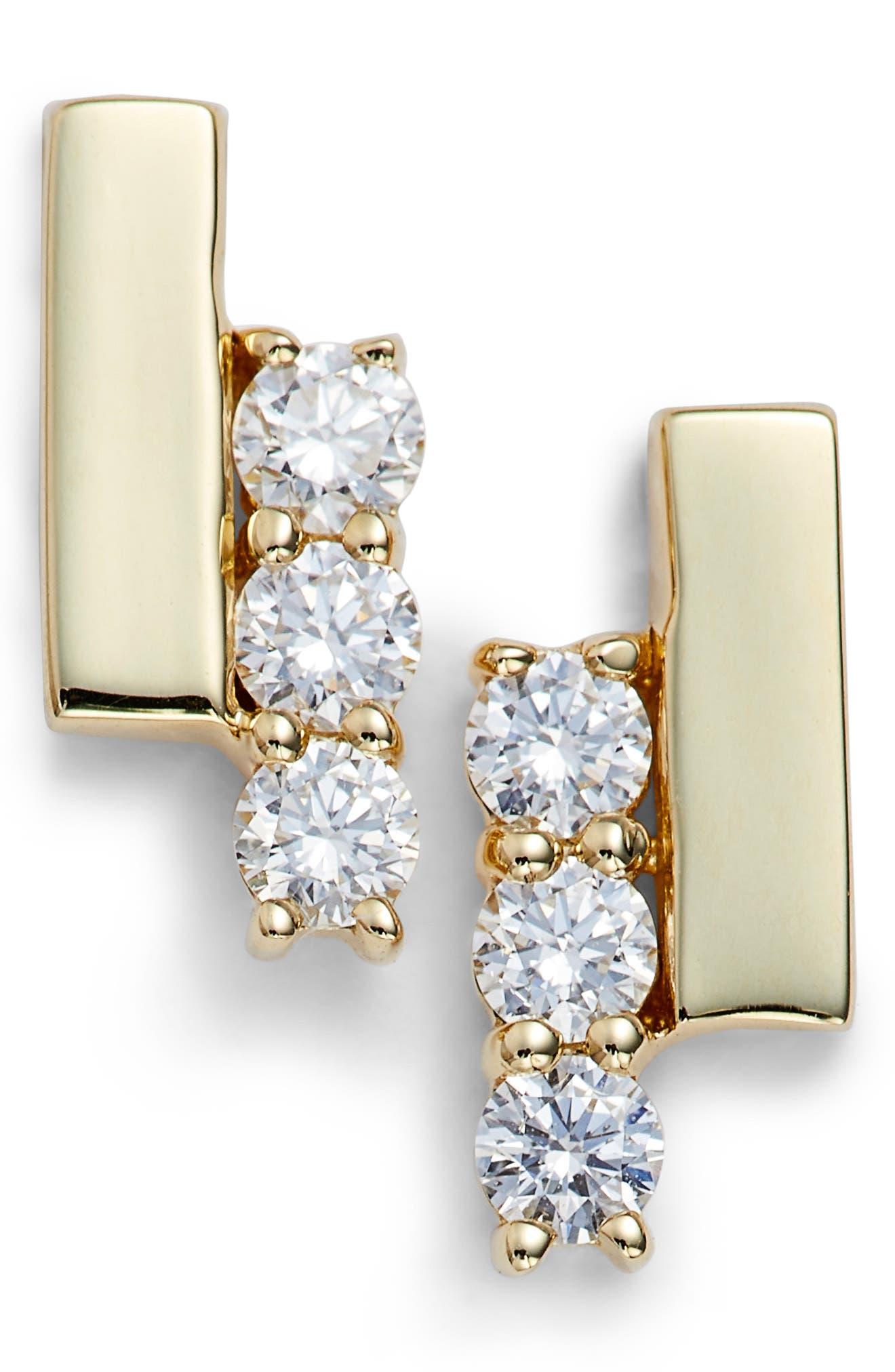 Sylvie Rose Diamond Bar Stud Earrings,                             Main thumbnail 1, color,                             YELLOW GOLD/ DIAMOND