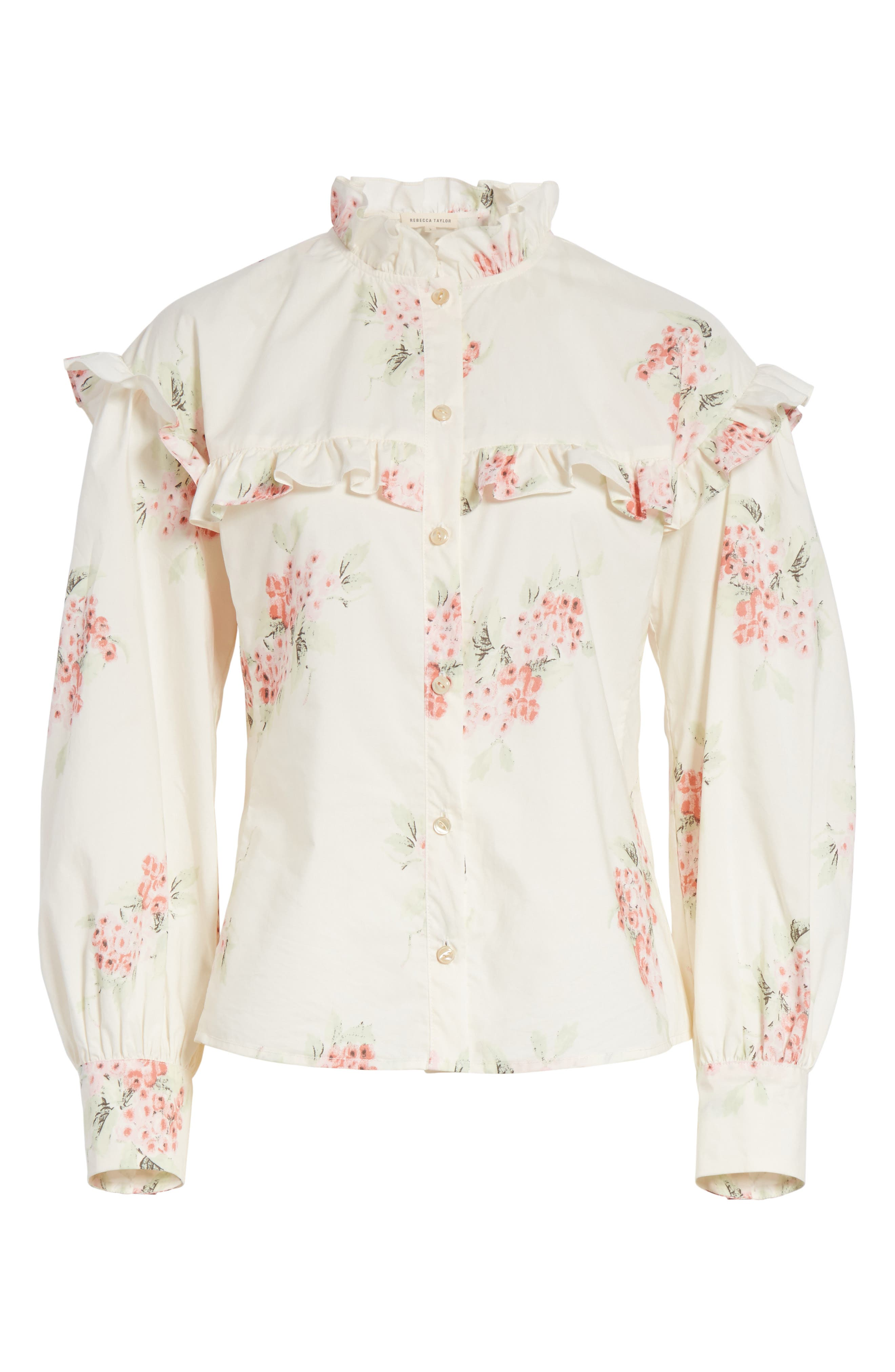 Maia Ruffled Floral Top,                             Alternate thumbnail 6, color,                             901