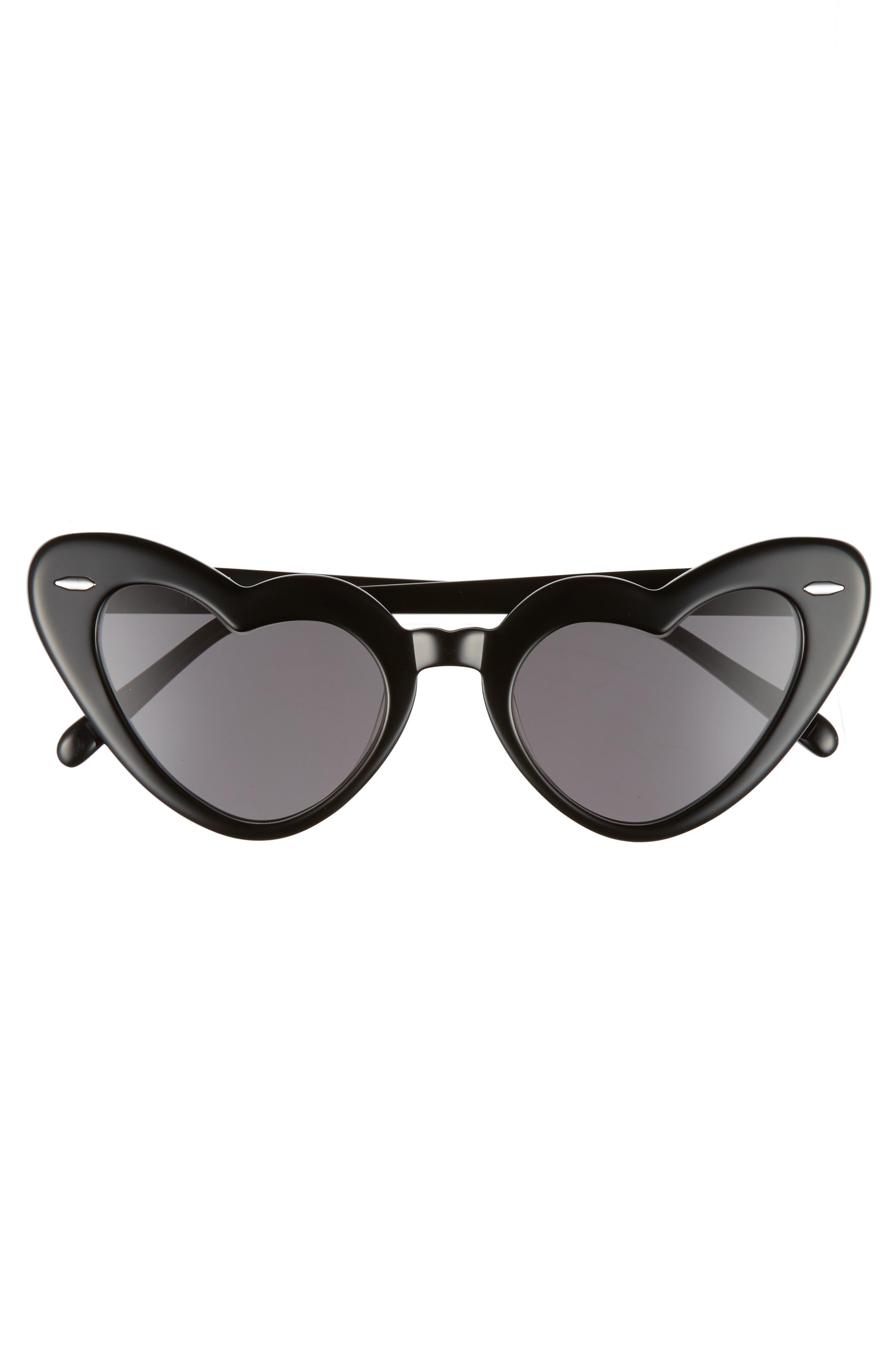 J'adore 46mm Heart Sunglasses,                             Alternate thumbnail 3, color,                             001