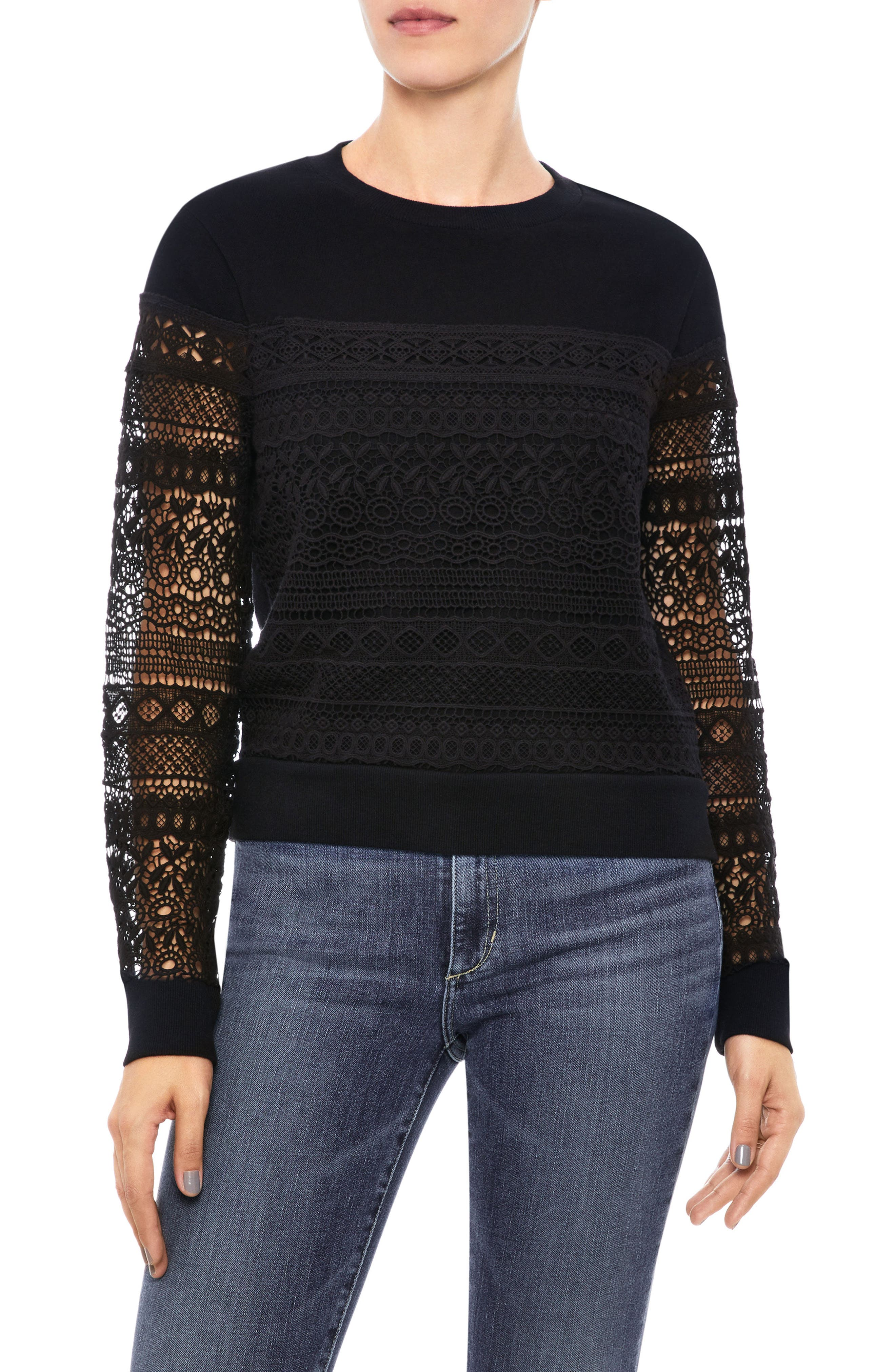 Martina Sweatshirt,                         Main,                         color, BLACK