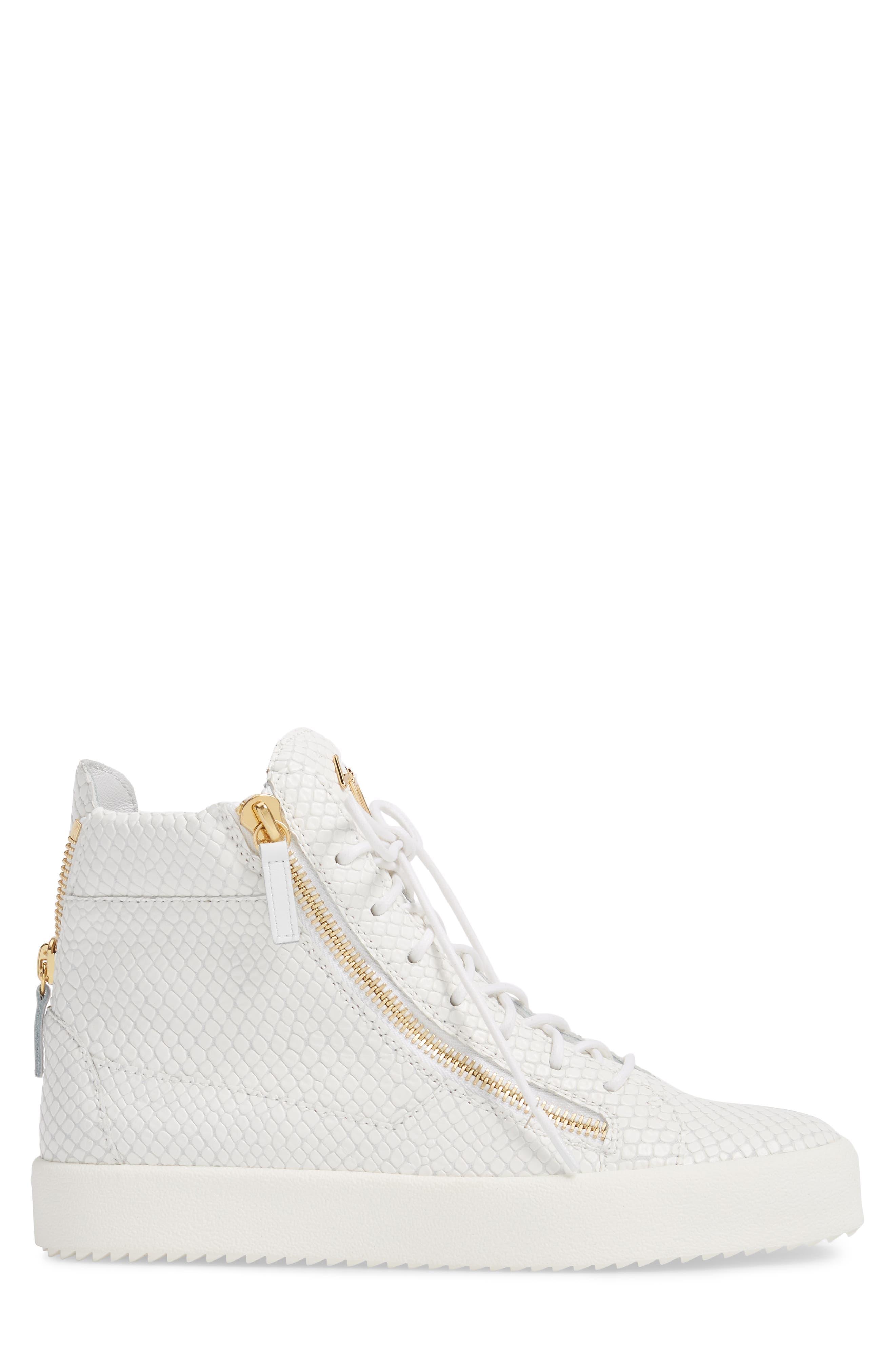 Snake Embossed High Top Sneaker,                             Alternate thumbnail 3, color,                             BIANCO