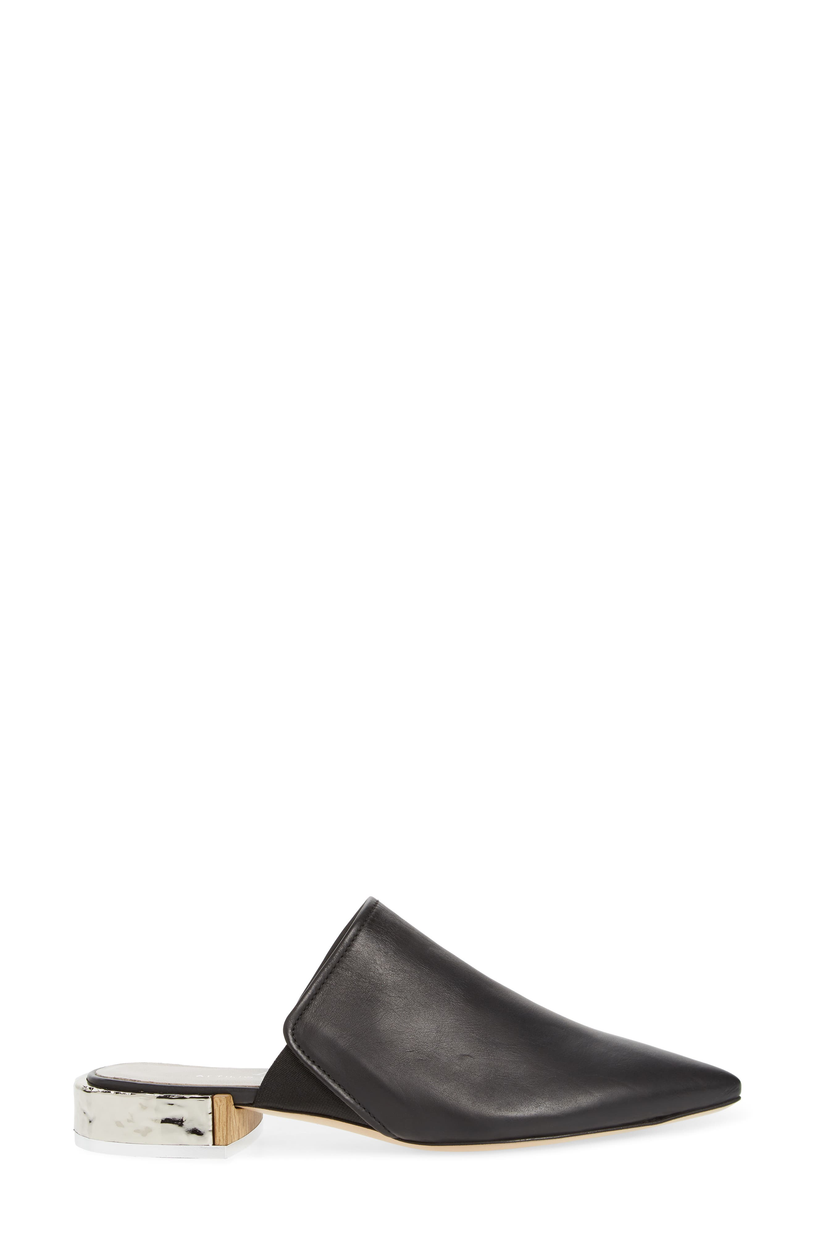 Pointed Toe Mule,                             Alternate thumbnail 3, color,                             BLACK LEATHER