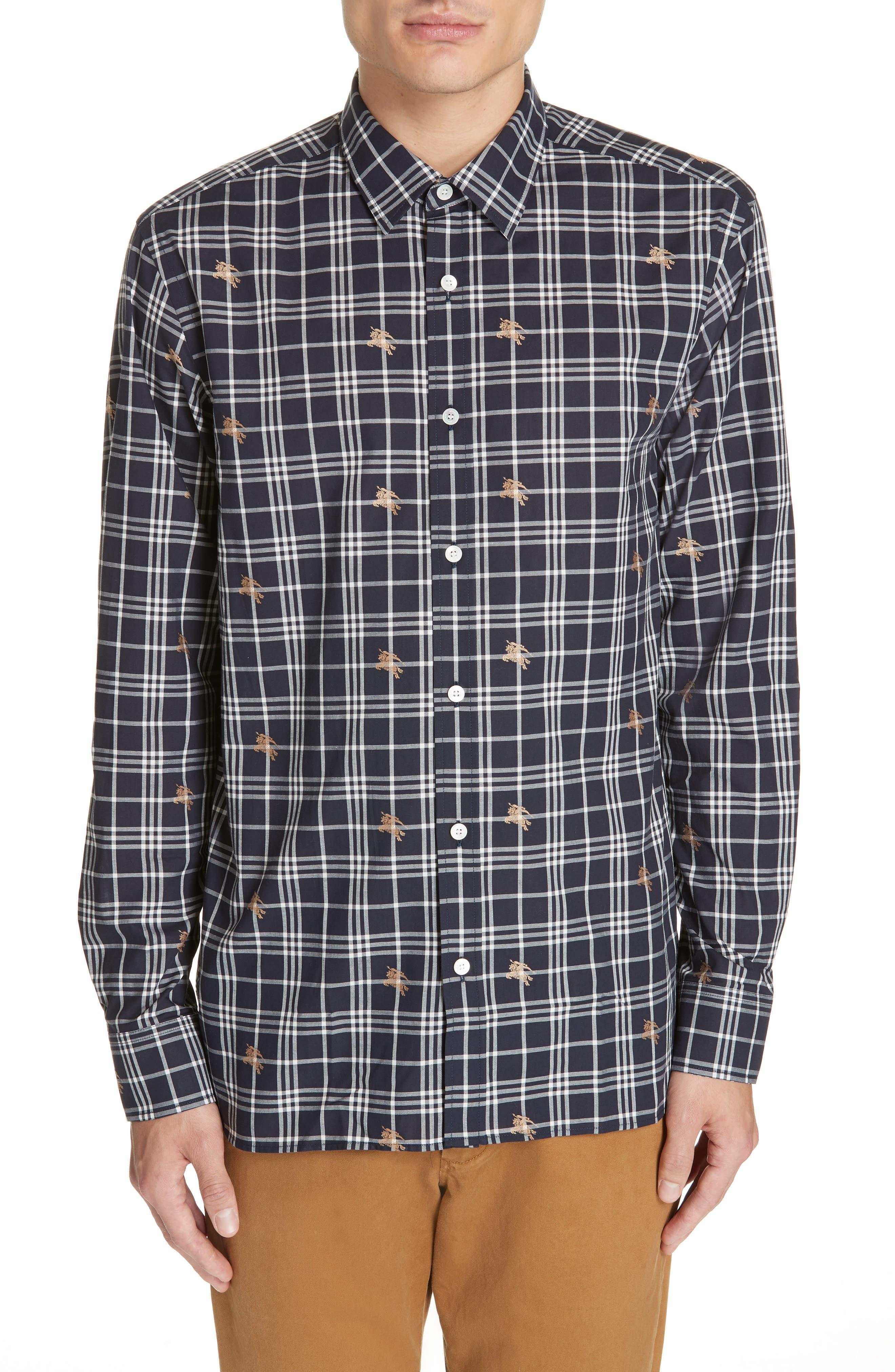 Edward Check Sport Shirt,                         Main,                         color, NAVY