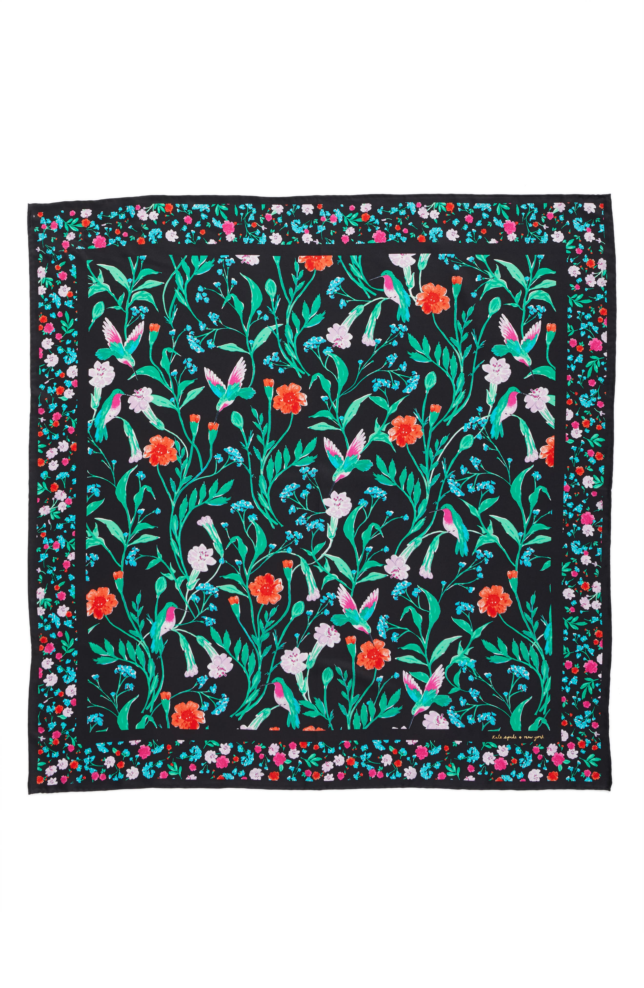 KATE SPADE NEW YORK,                             jardin silk square scarf,                             Alternate thumbnail 2, color,                             001