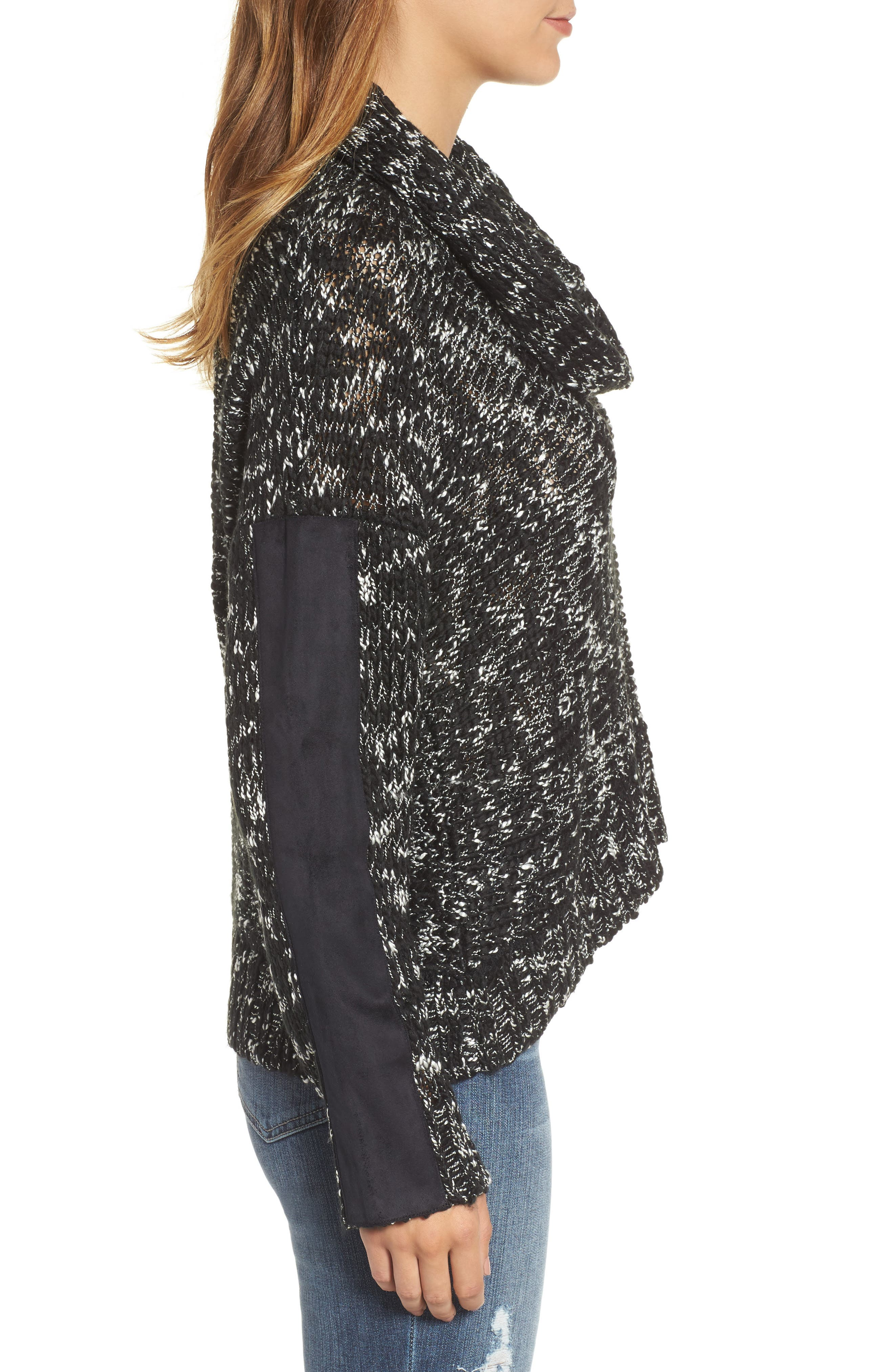 Cowl Neck Patch Sleeve Sweater,                             Alternate thumbnail 3, color,                             001