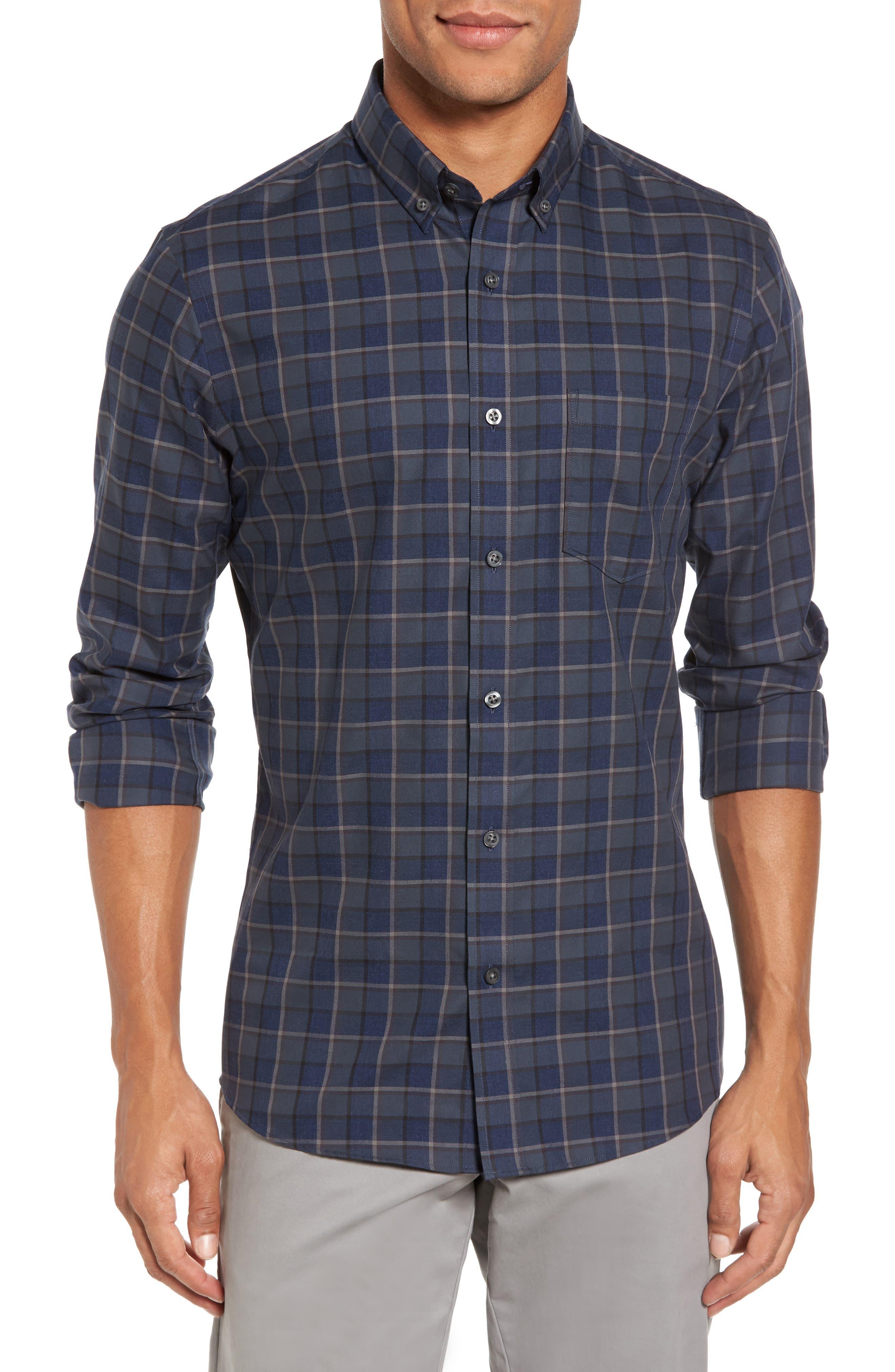 Trim Fit Non-Iron Plaid Sport Shirt,                         Main,                         color, 021