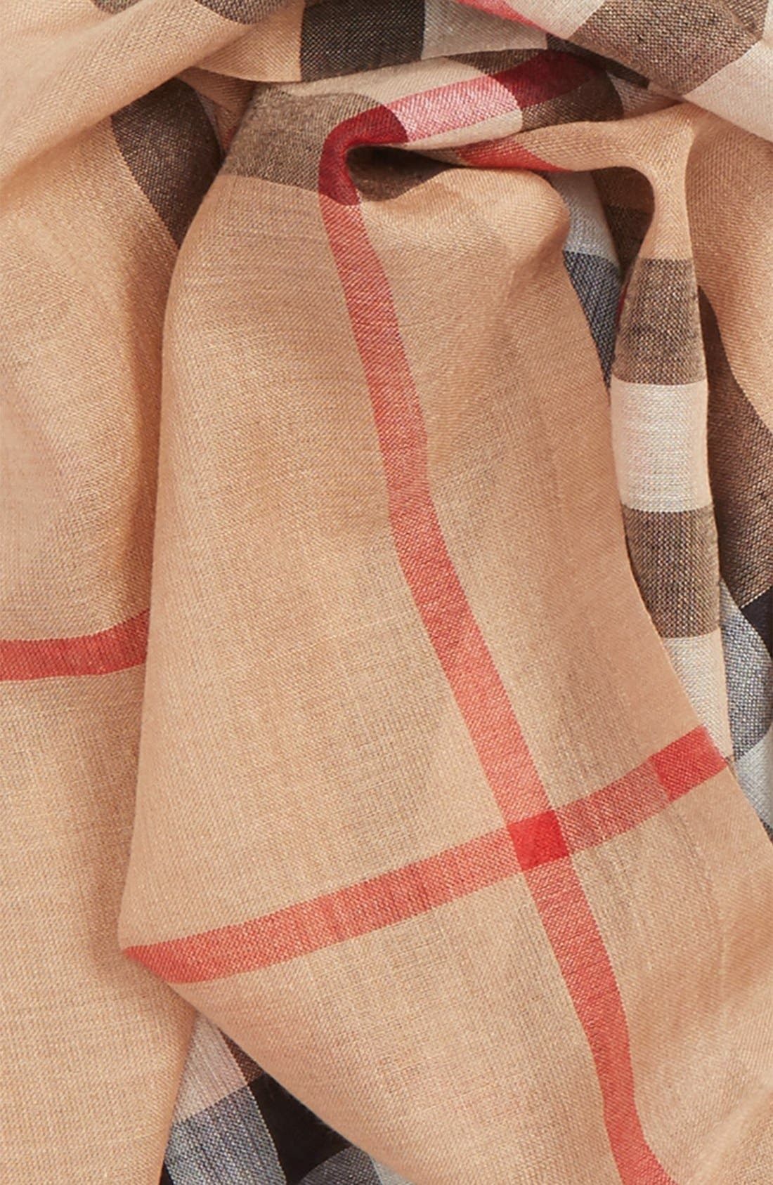 Giant Check Print Wool & Silk Scarf,                             Alternate thumbnail 161, color,