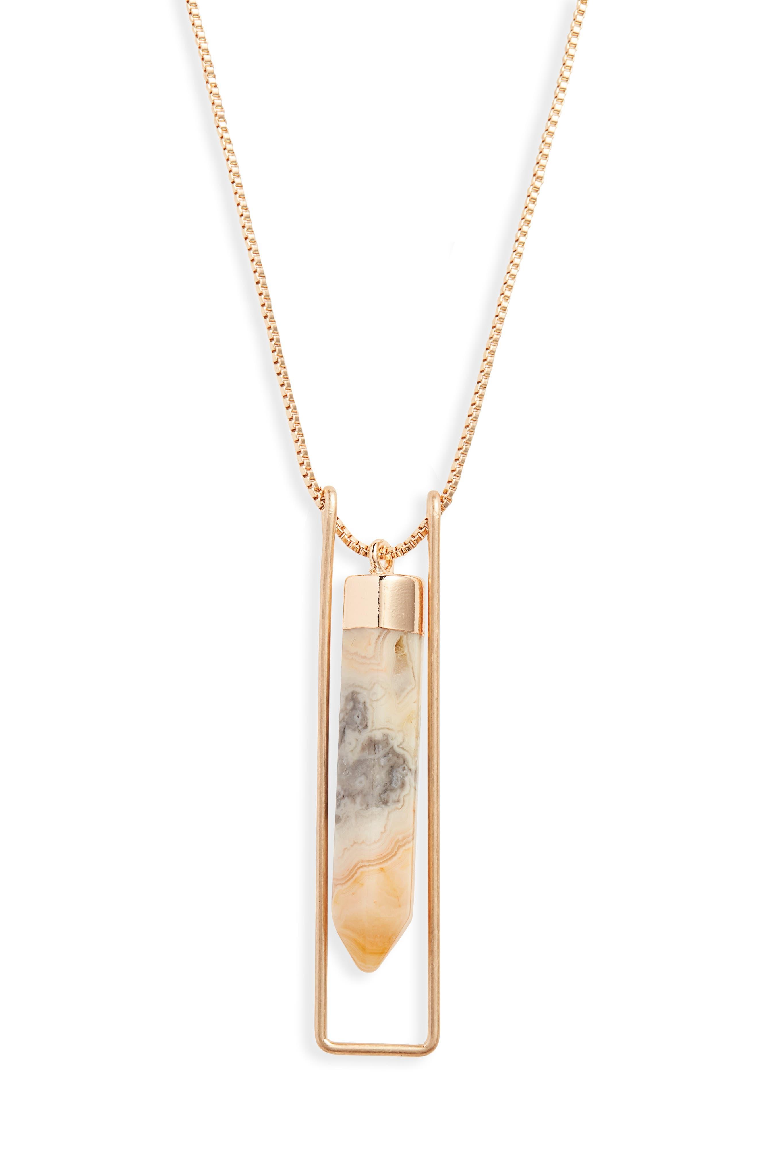 Caged Quartz Pendant Necklace,                             Alternate thumbnail 2, color,                             NATURAL- GOLD