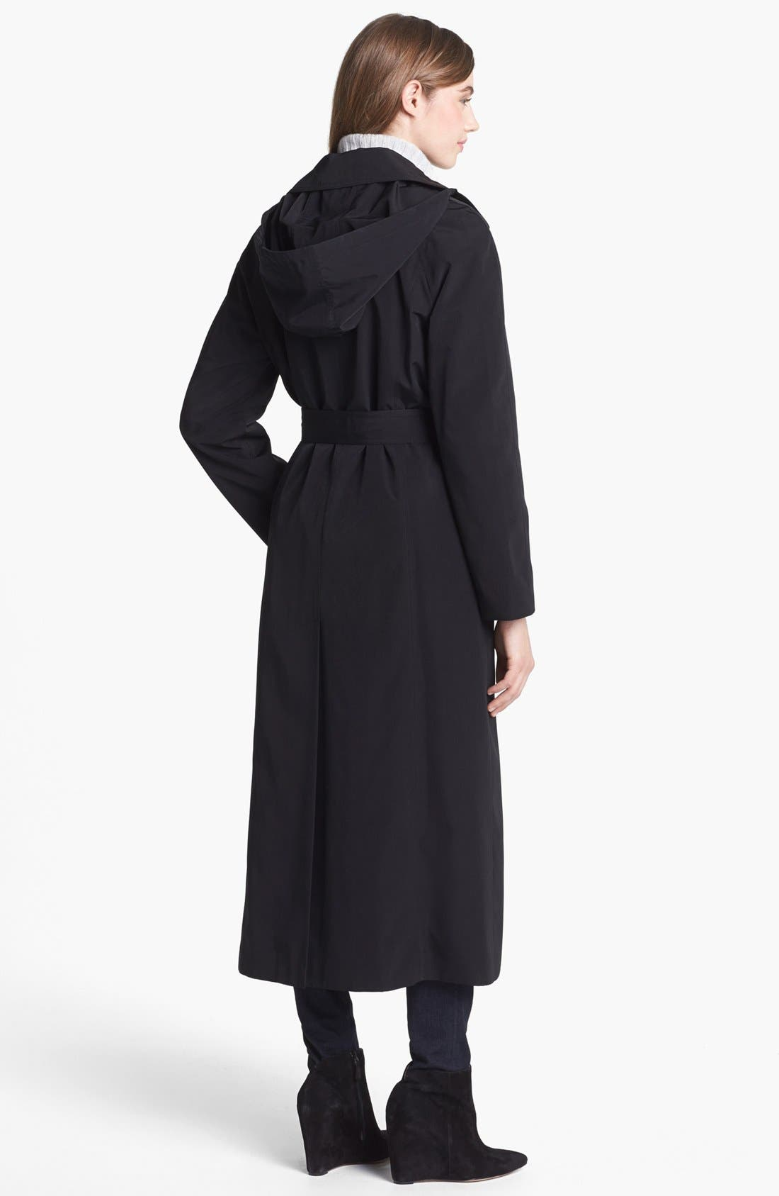 Long Trench Coat with Detachable Hood & Liner,                             Alternate thumbnail 8, color,                             BLACK