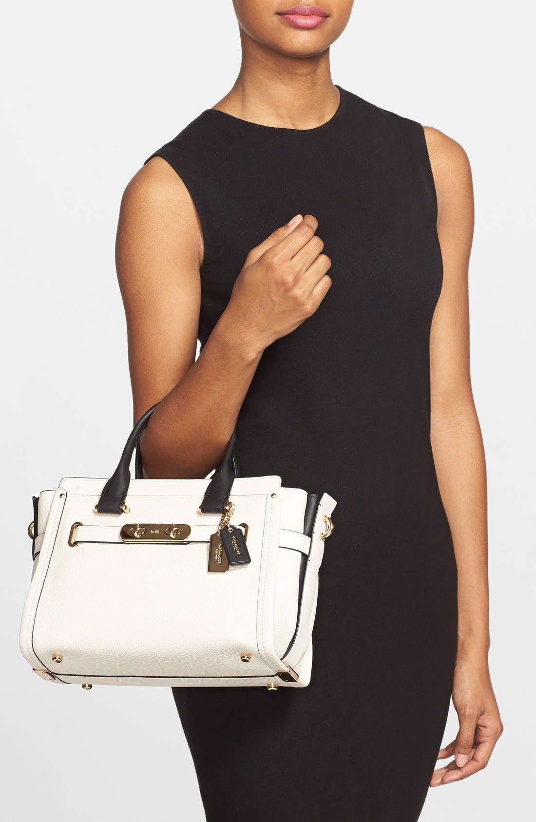 'Swagger 35' Colorblock Leather Satchel,                             Alternate thumbnail 5, color,                             178