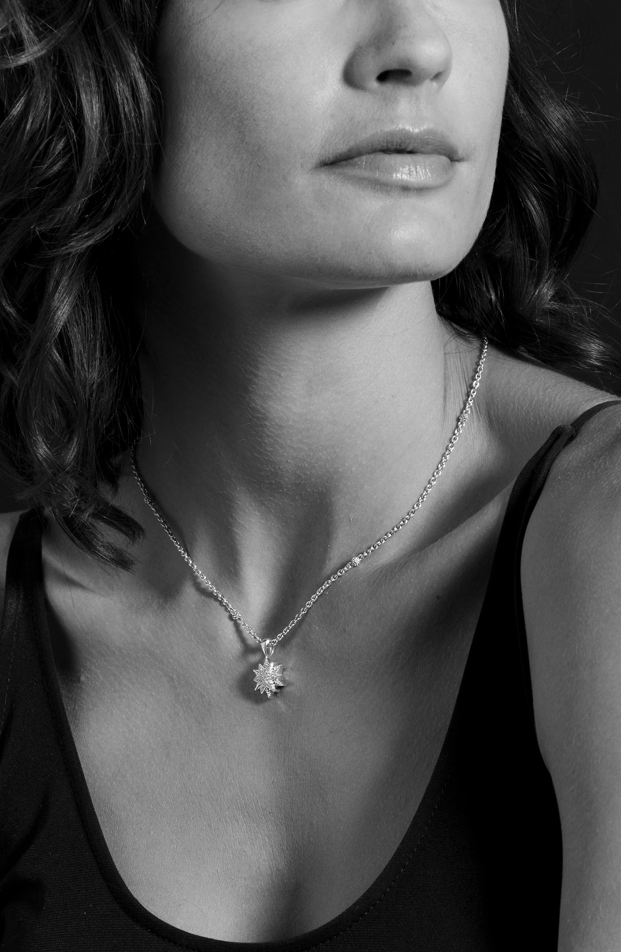 North Star Small Diamond Pendant Necklace,                             Alternate thumbnail 5, color,                             DIAMOND