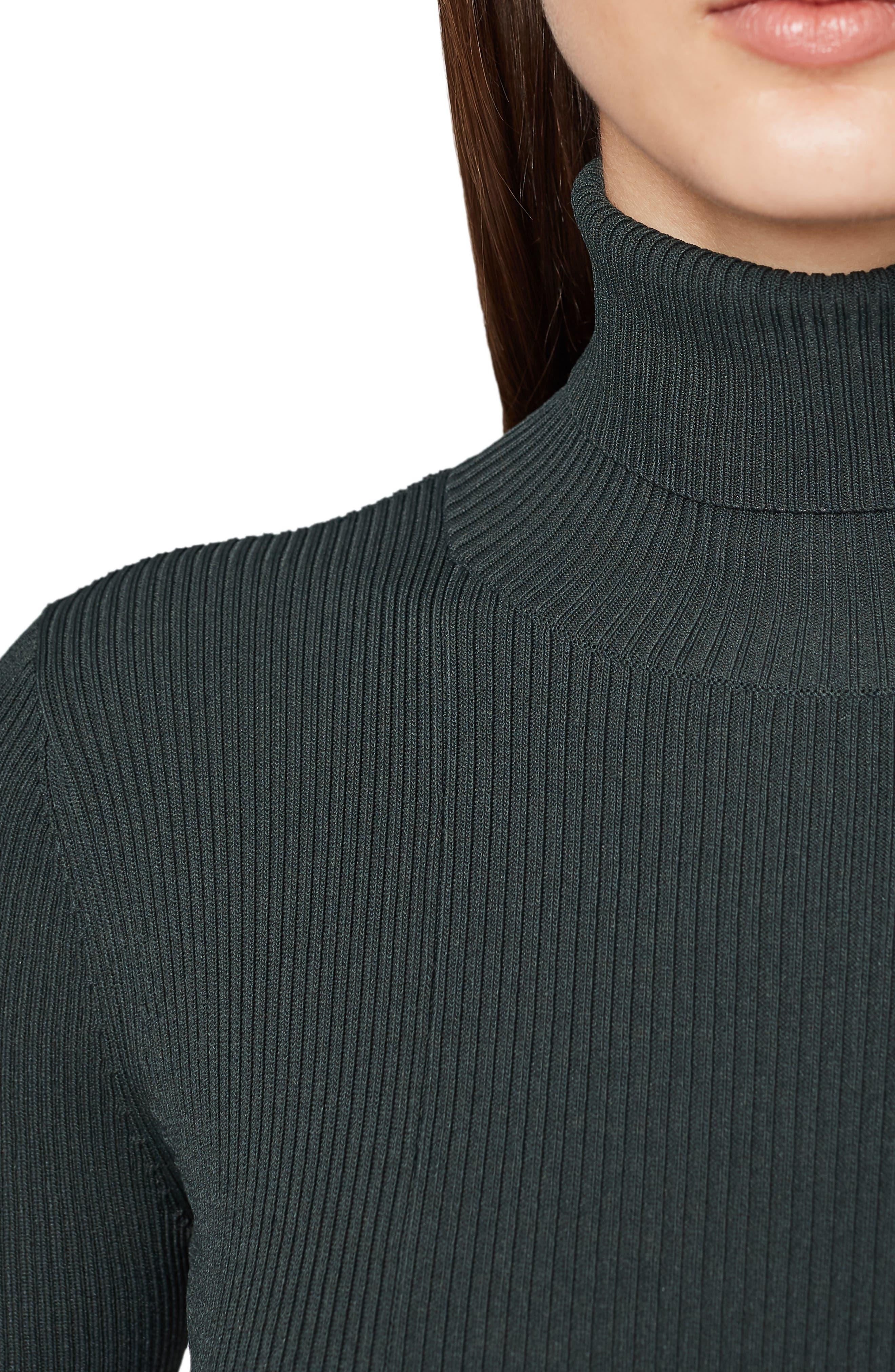 REISS,                             Mimi Turtleneck Sweater Dress,                             Alternate thumbnail 3, color,                             GREEN