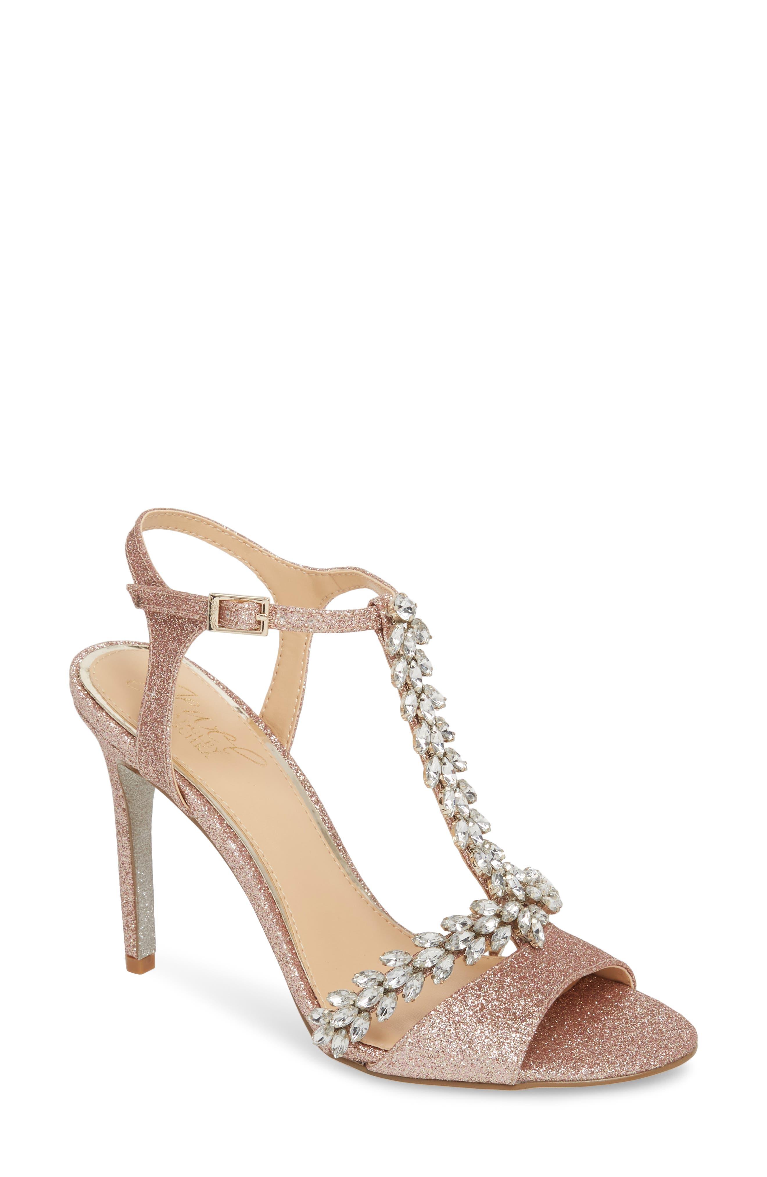 Jewel Badgley Mischka Maxi Crystal Embellished Sandal, Metallic
