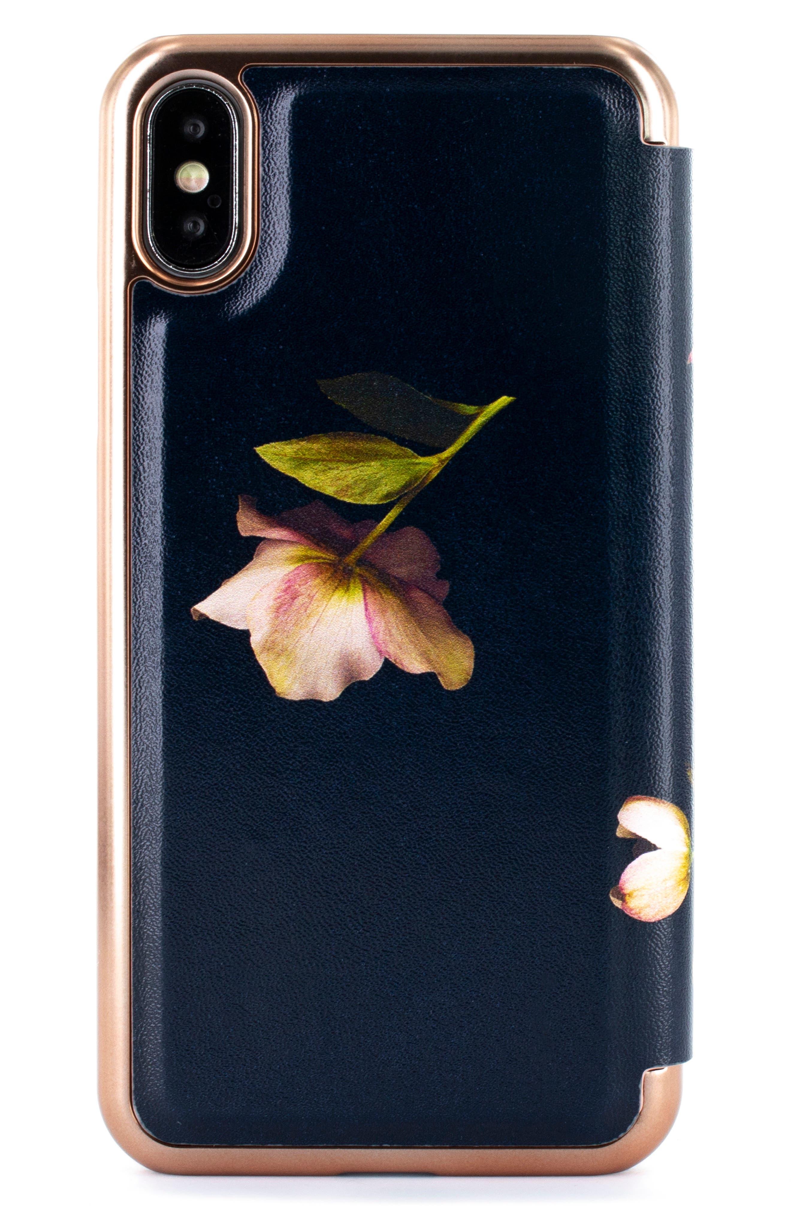 TED BAKER LONDON,                             Arboretum iPhone X/Xs/Xs Max & XR Mirror Folio Case,                             Alternate thumbnail 3, color,                             BLACK