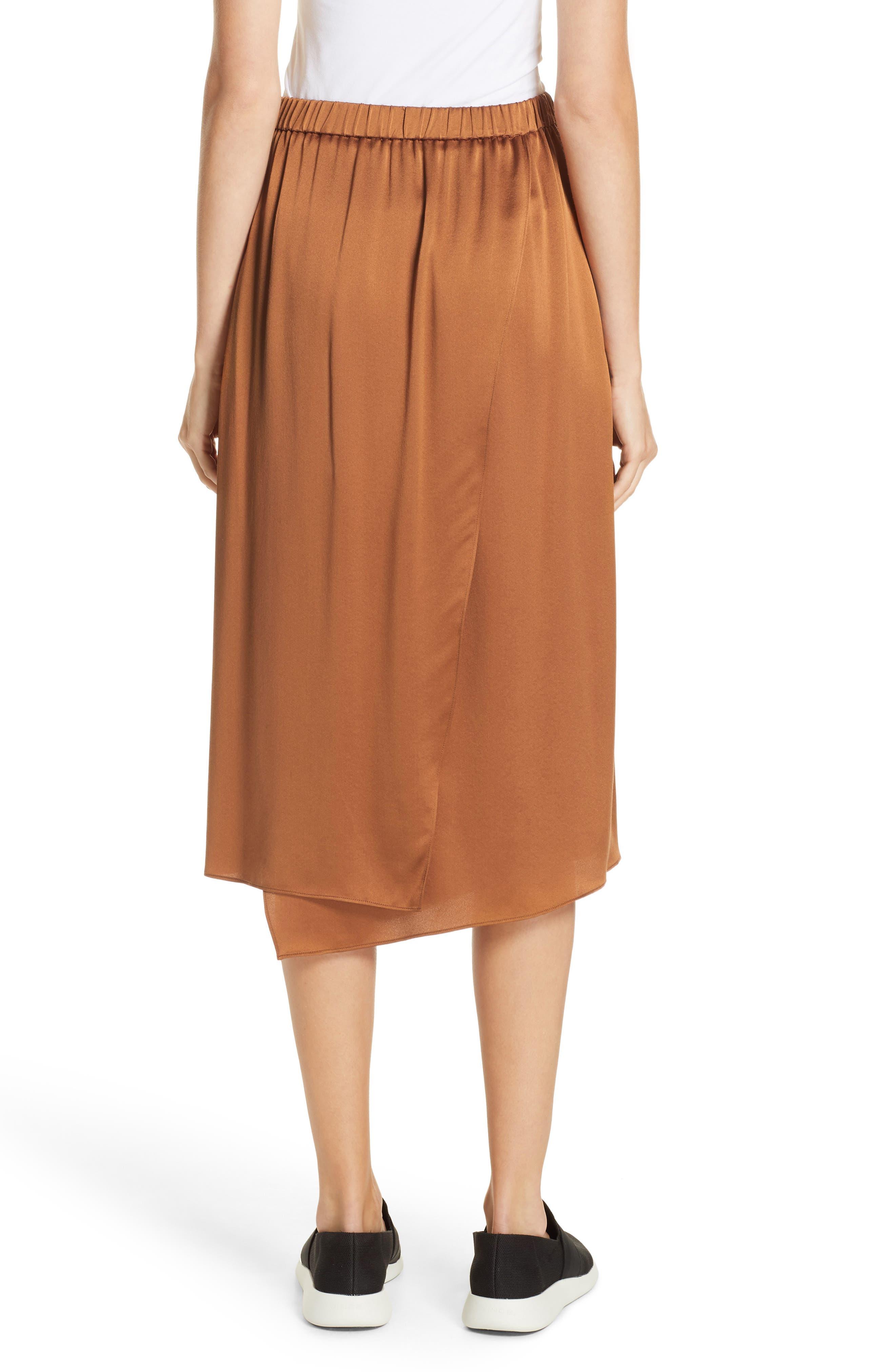 Drape Panel Silk Skirt,                             Alternate thumbnail 2, color,                             LIGHT COPPER