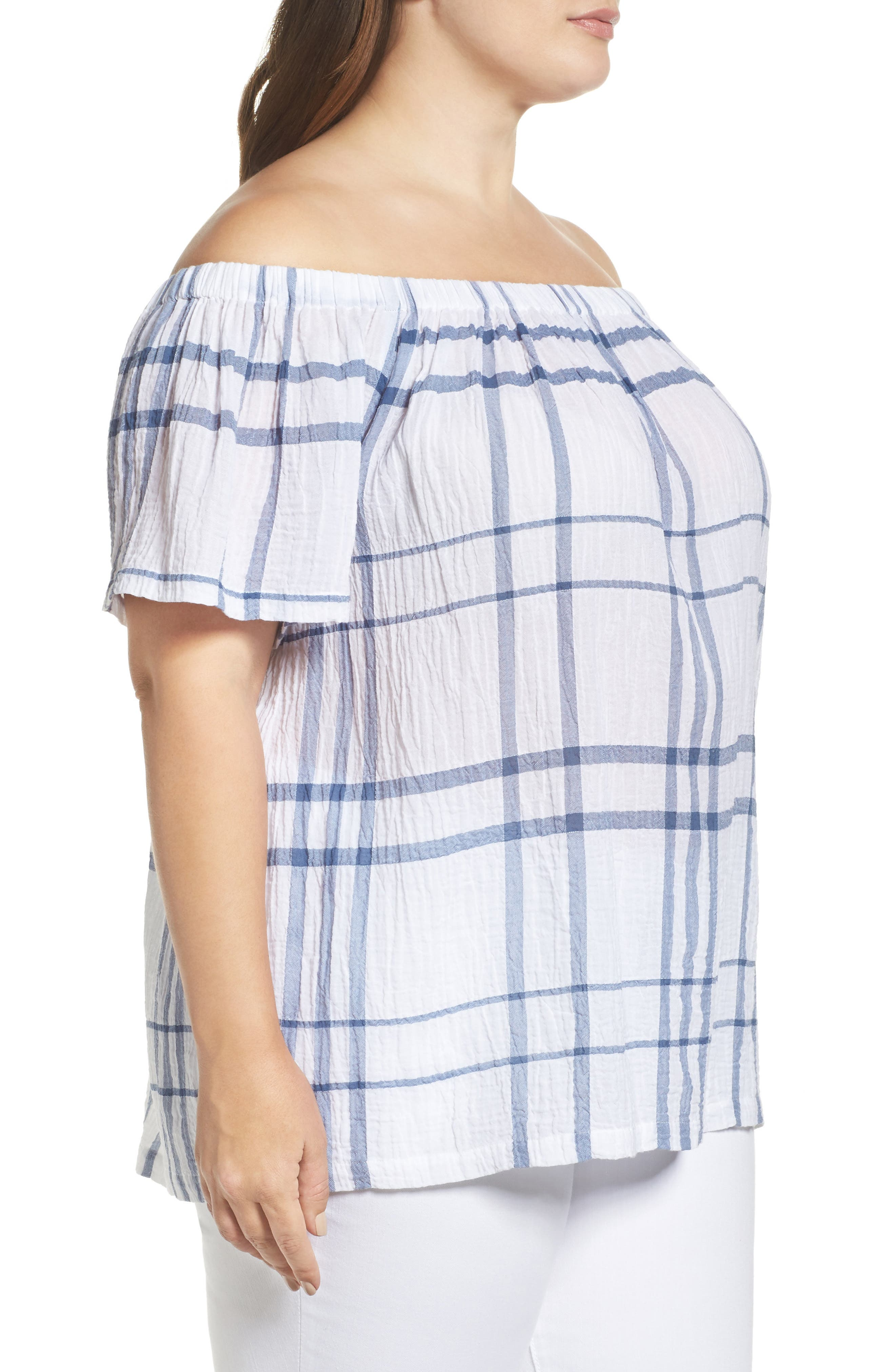 Vince Camuto Timeless Plaid Off the Shoulder Blouse,                             Alternate thumbnail 3, color,                             400