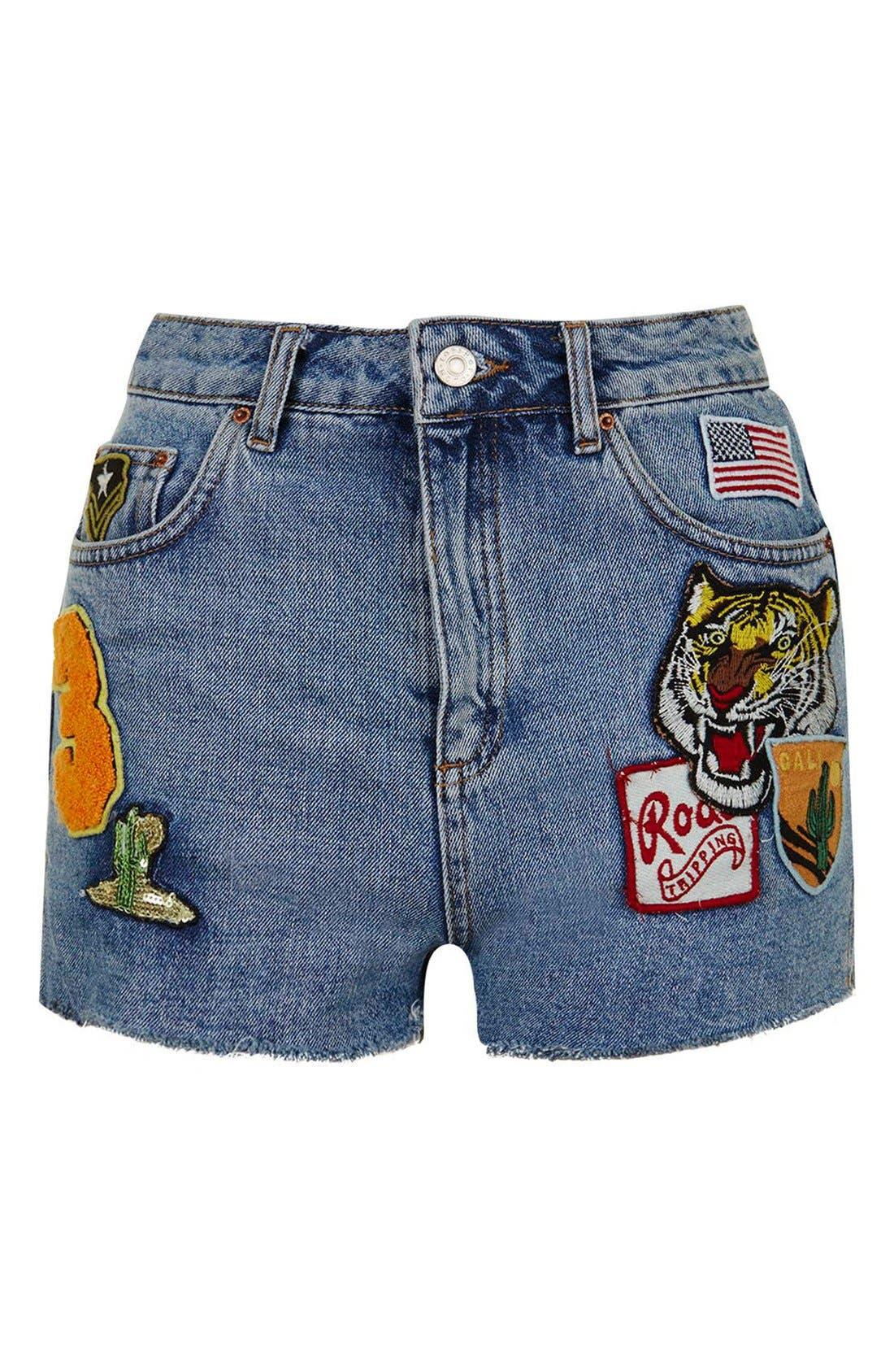 Moto Raw Hem Badge Mom Shorts,                             Alternate thumbnail 4, color,                             400