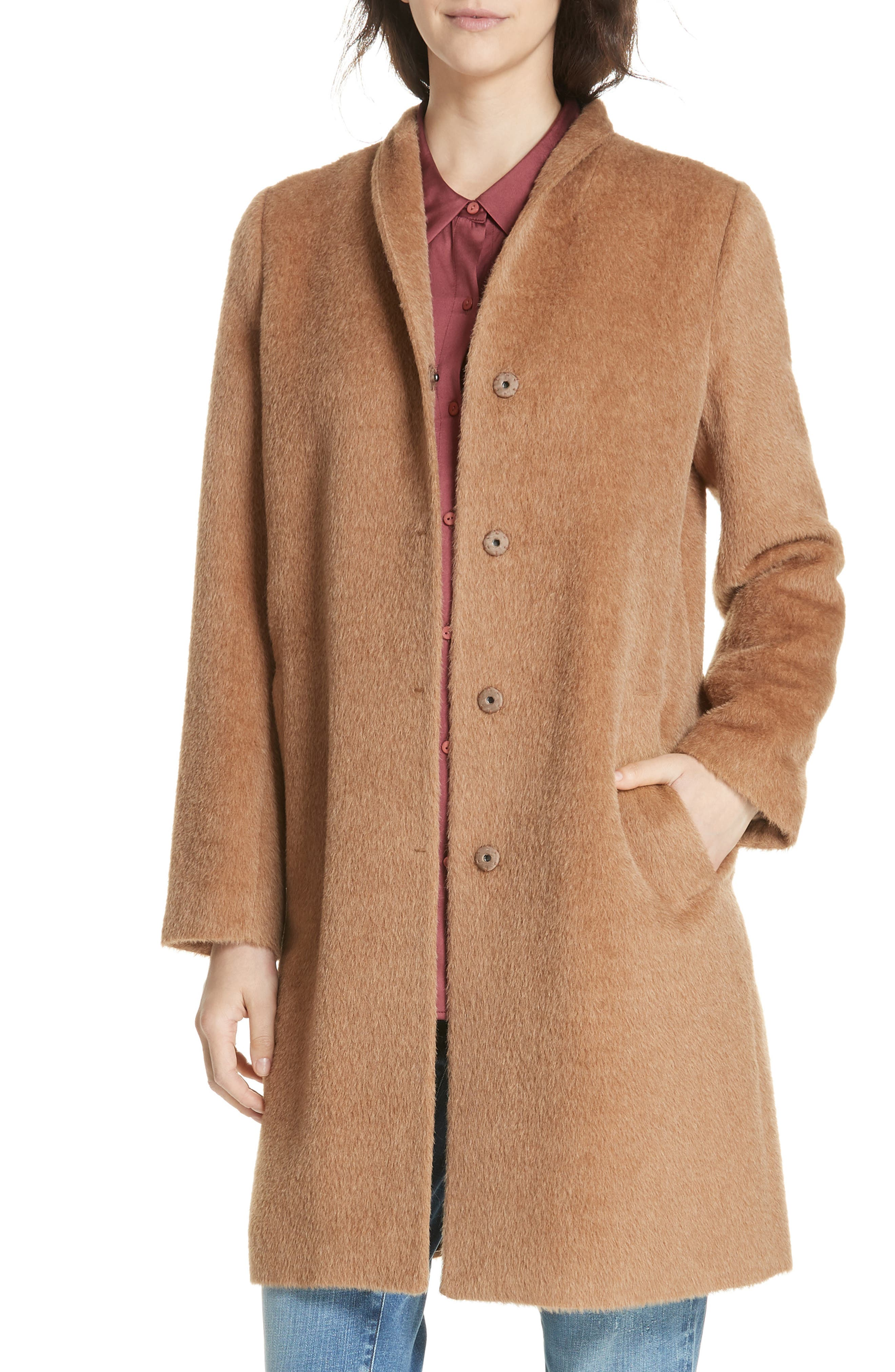 1940s Coats & Jackets Fashion History Womens Eileen Fisher Suri Alpaca Blend Coat Size XX-Small - Brown $698.00 AT vintagedancer.com