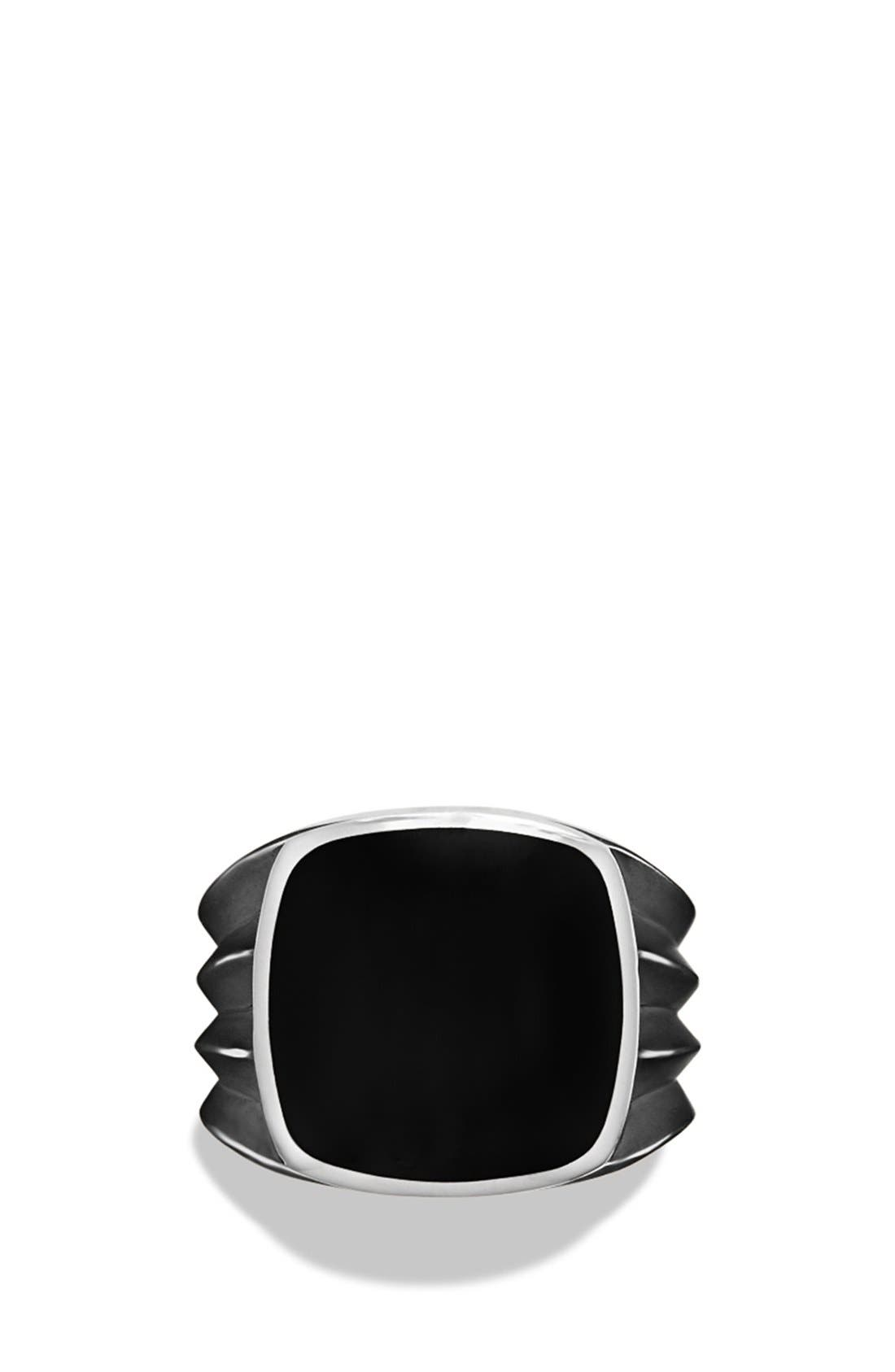 'Royal Cord' Knife Edge Signet Ring with Black Onyx,                             Alternate thumbnail 2, color,                             001