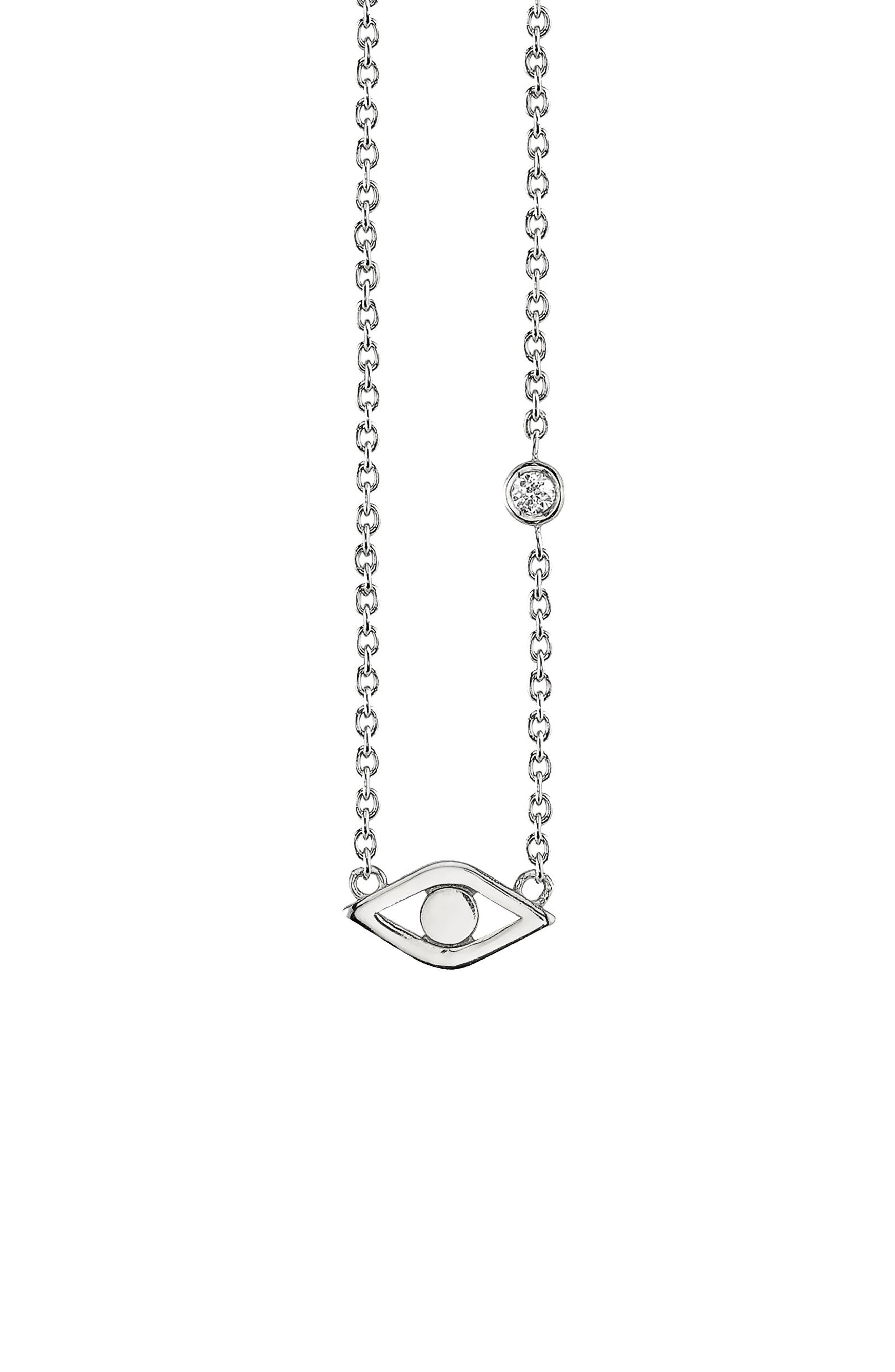 SYD BY SYDNEY EVAN Evil Eye Pendant Necklace, Main, color, SILVER