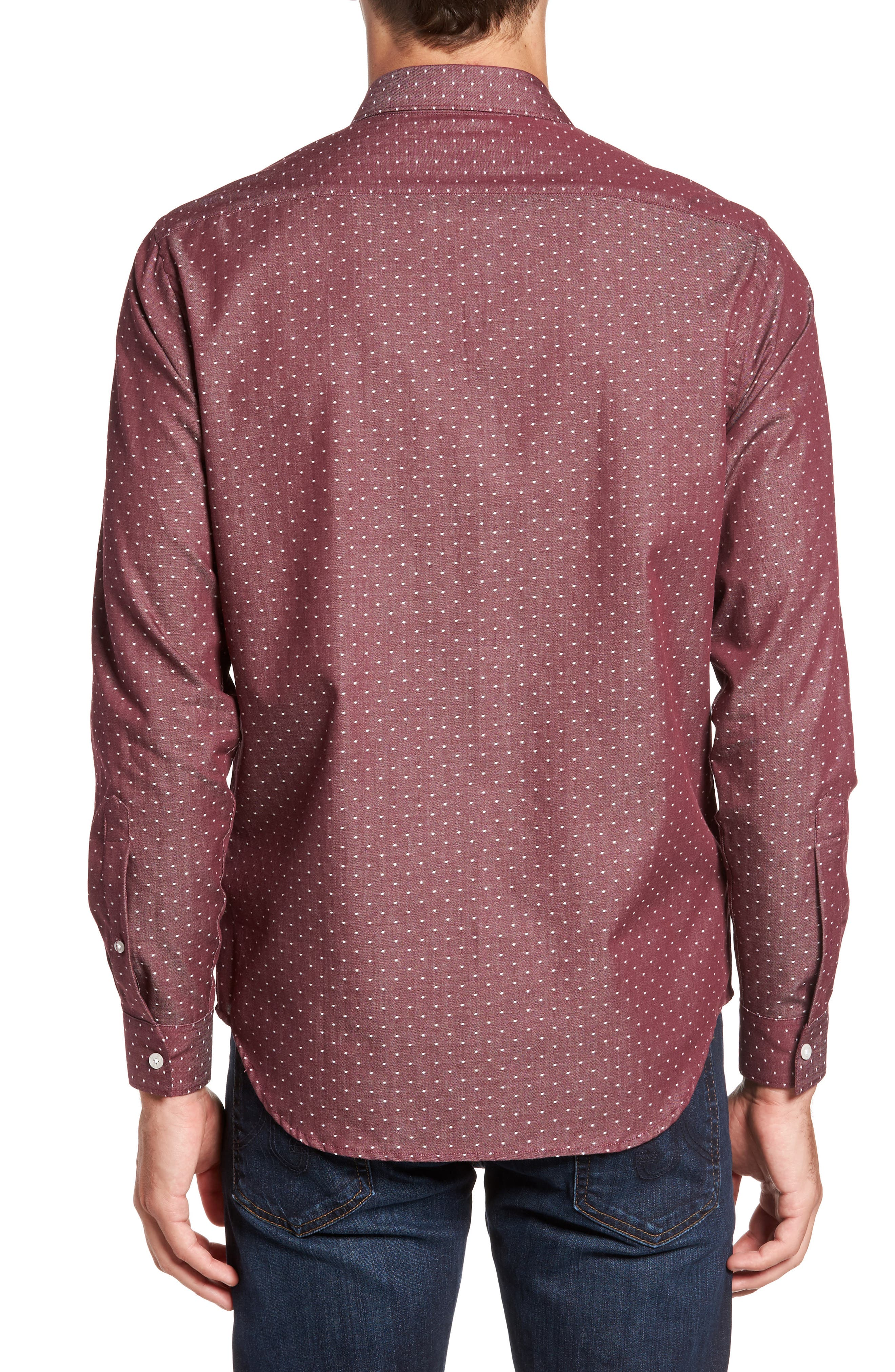 Slim Fit Dot Print Sport Shirt,                             Alternate thumbnail 2, color,                             930