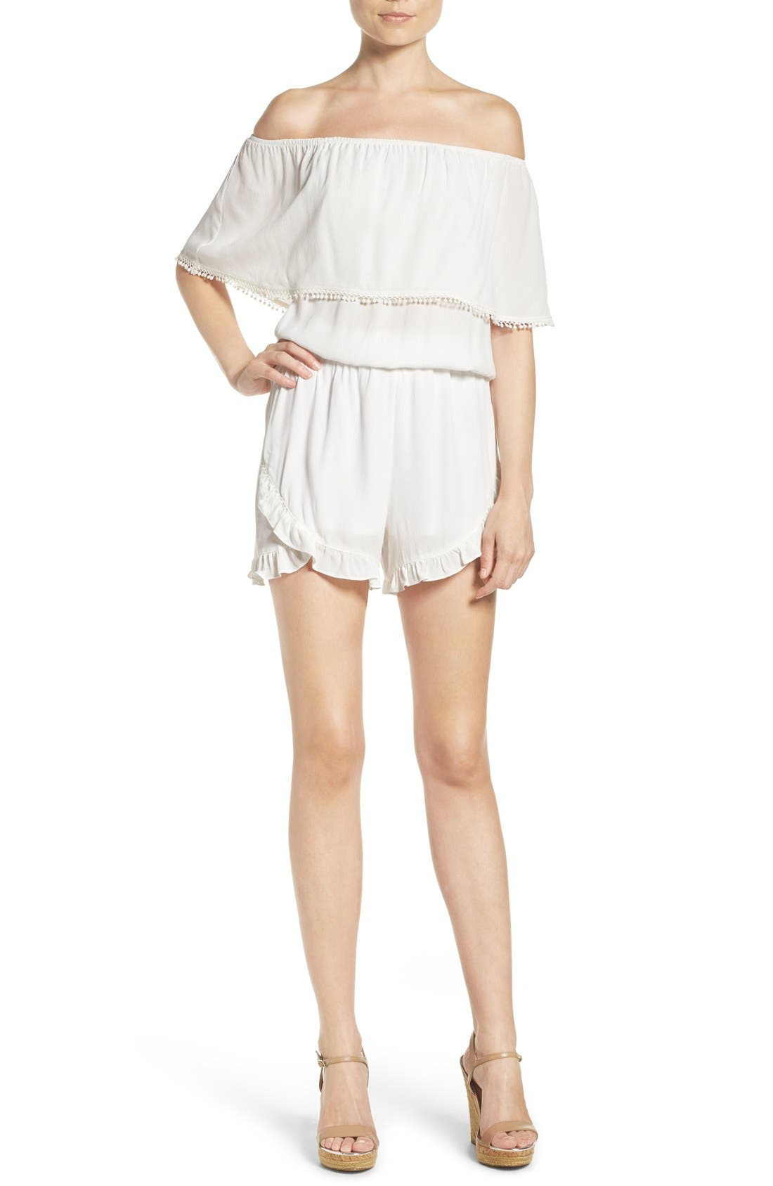 Ruffle Romper,                             Alternate thumbnail 4, color,                             100