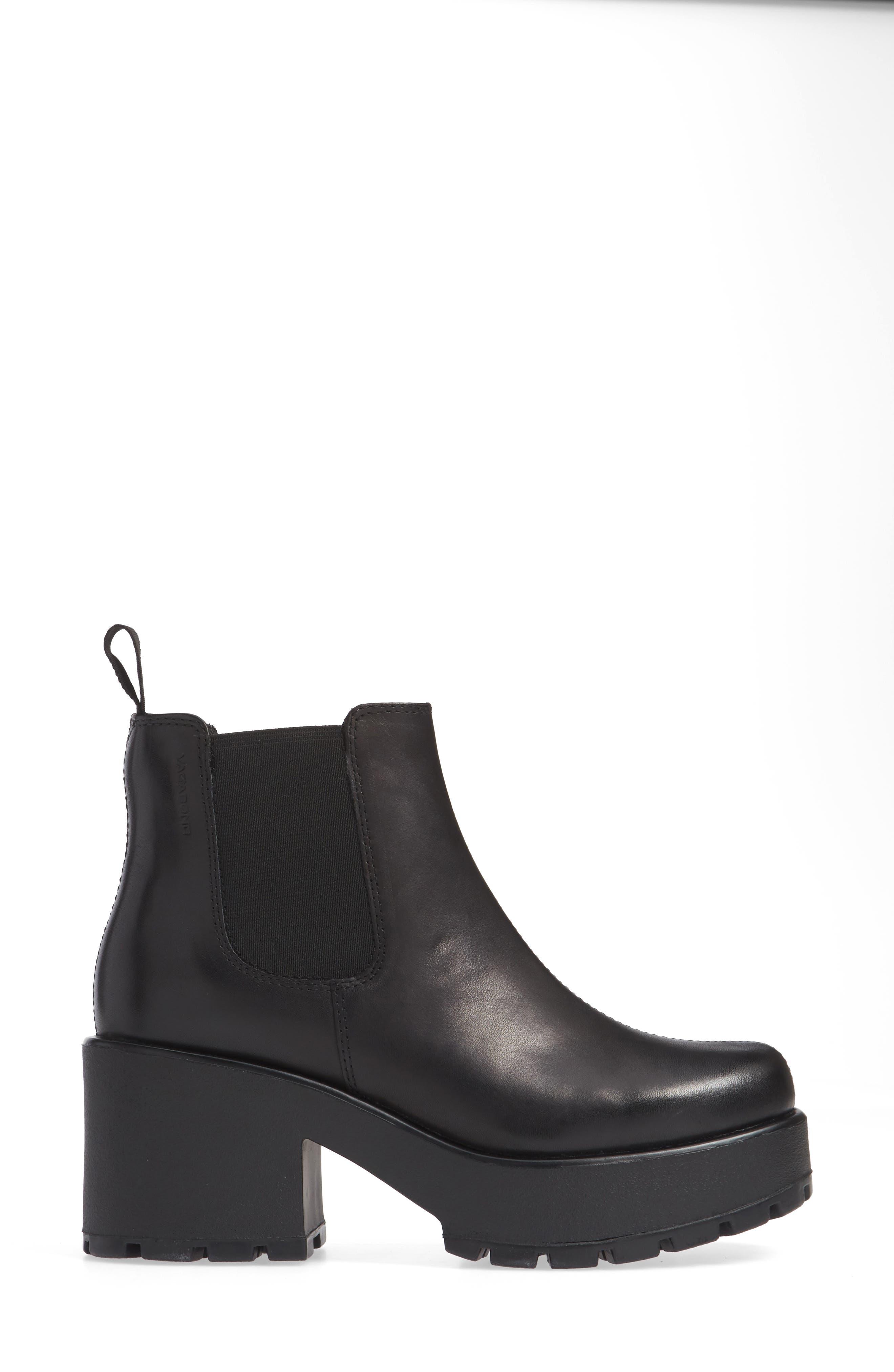 VAGABOND,                             Shoemakers Dioon Platform Chelsea Bootie,                             Alternate thumbnail 3, color,                             BLACK LEATHER